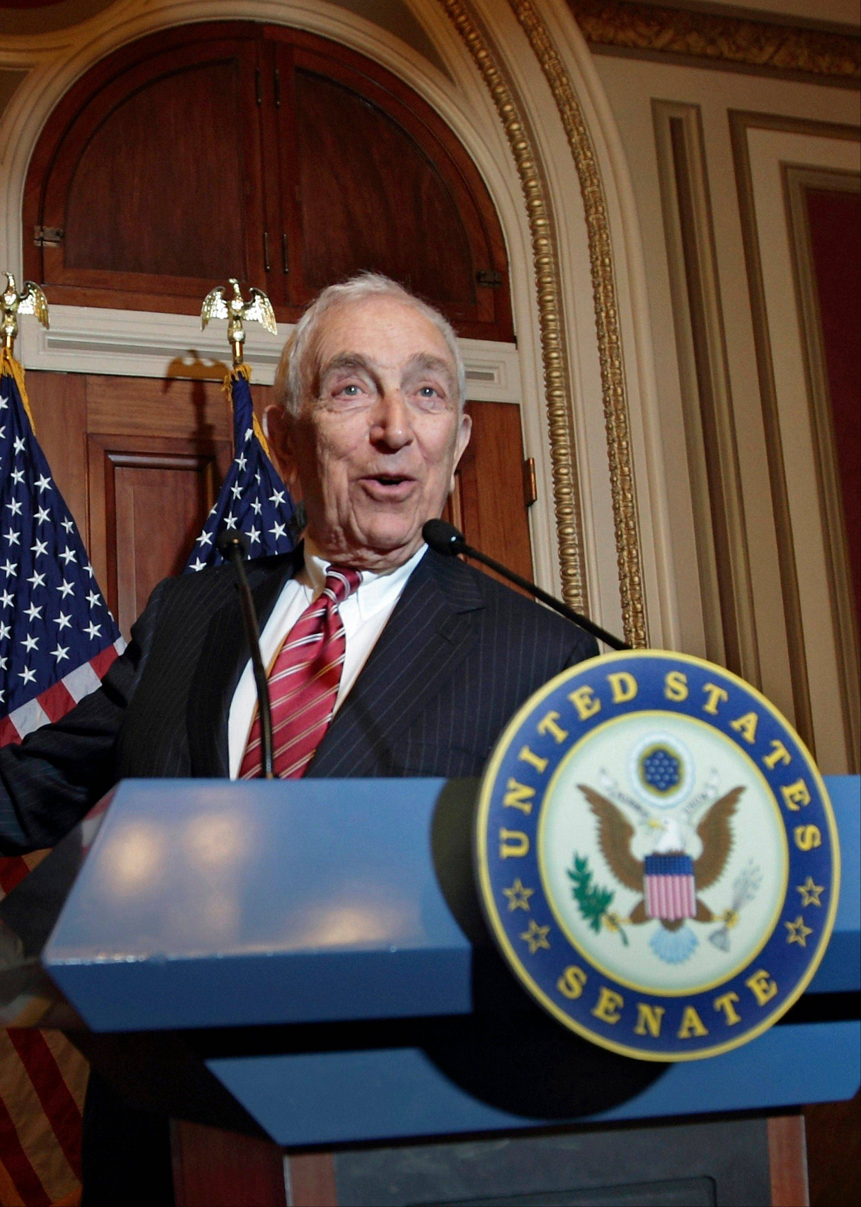 In this Nov. 2, 2011, file photo, Sen. Frank Lautenberg, D-N.J., speaks during a news conference on Capitol Hill in Washington. Lautenberg, a multimillionaire New Jersey businessman and liberal who was called out of retirement for a second tour of duty in Congress, died Monday, June 3, 2013, at age 89.