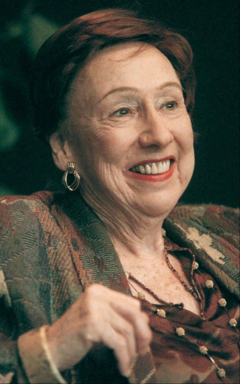 "In this Nov. 1, 2000 file photo, actress Jean Stapleton smiles during a news conference at Syracuse Stage in Syracuse, N.Y. Stapleton, the stage-trained character actress who played Archie Bunker's wife, the sweetly naive Edith, in TV's groundbreaking 1970s comedy ""All in the Family,"" died May 31, 2013. She was 90."