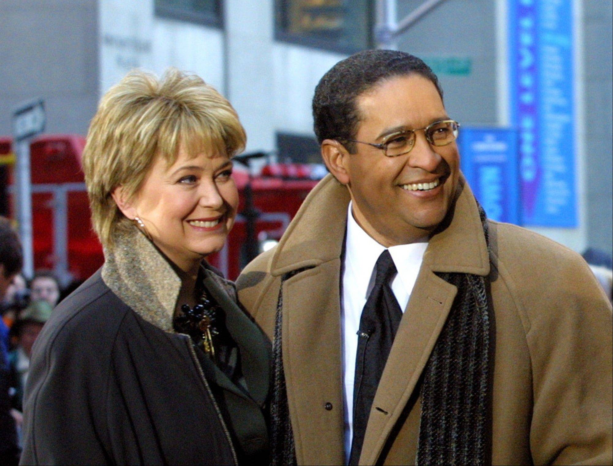 "Former NBC ""Today"" show co-hosts Jane Pauley, left, and Bryant Gumbel, share the camera during the morning show's 50th anniversary in New York. NBC says that Pauley and Gumbel will join Matt Lauer for Monday's show on Dec. 30."