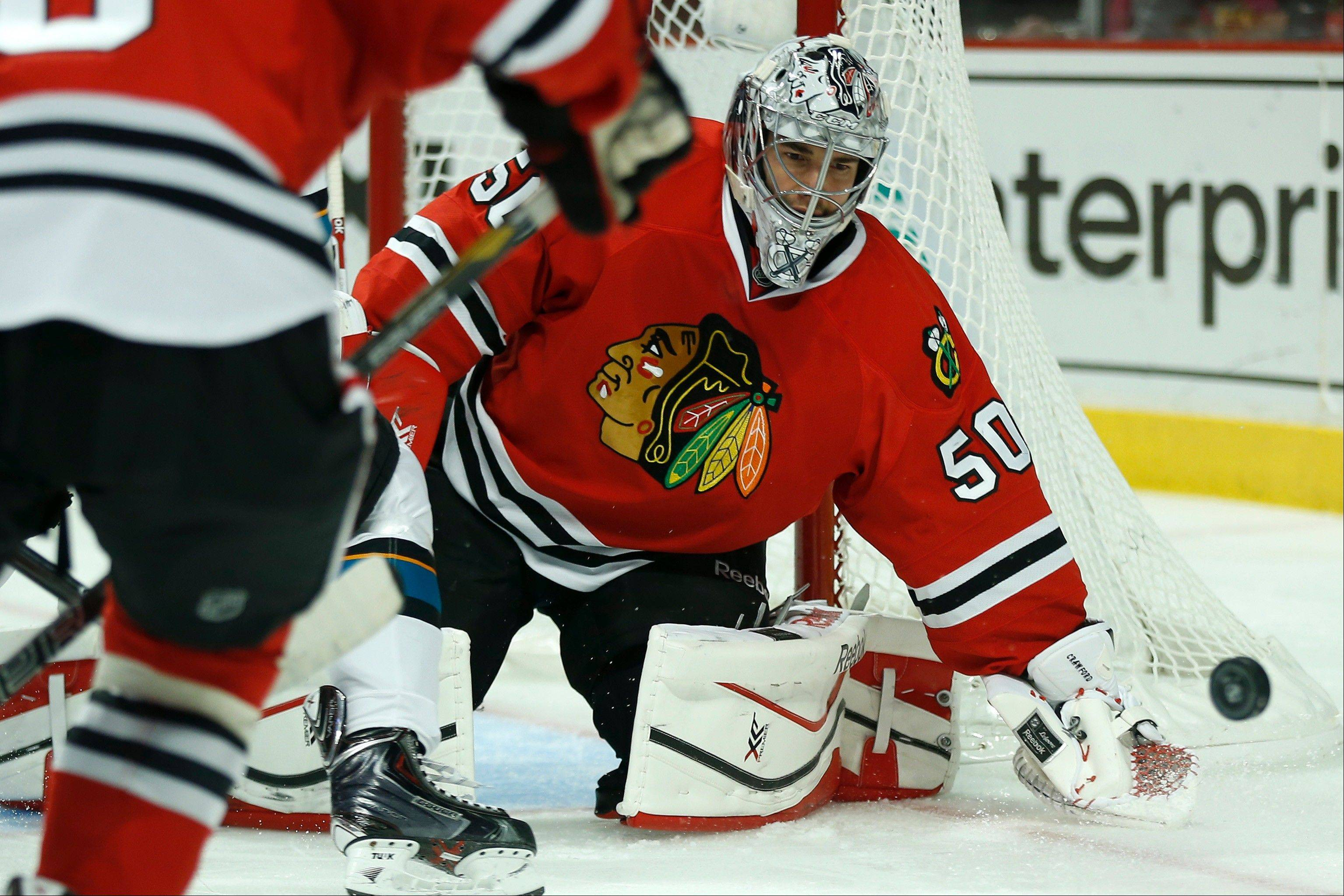 The Blackhawks say goalie Corey Crawford is making great progress and he may travel with the team this weekend but he won't play.