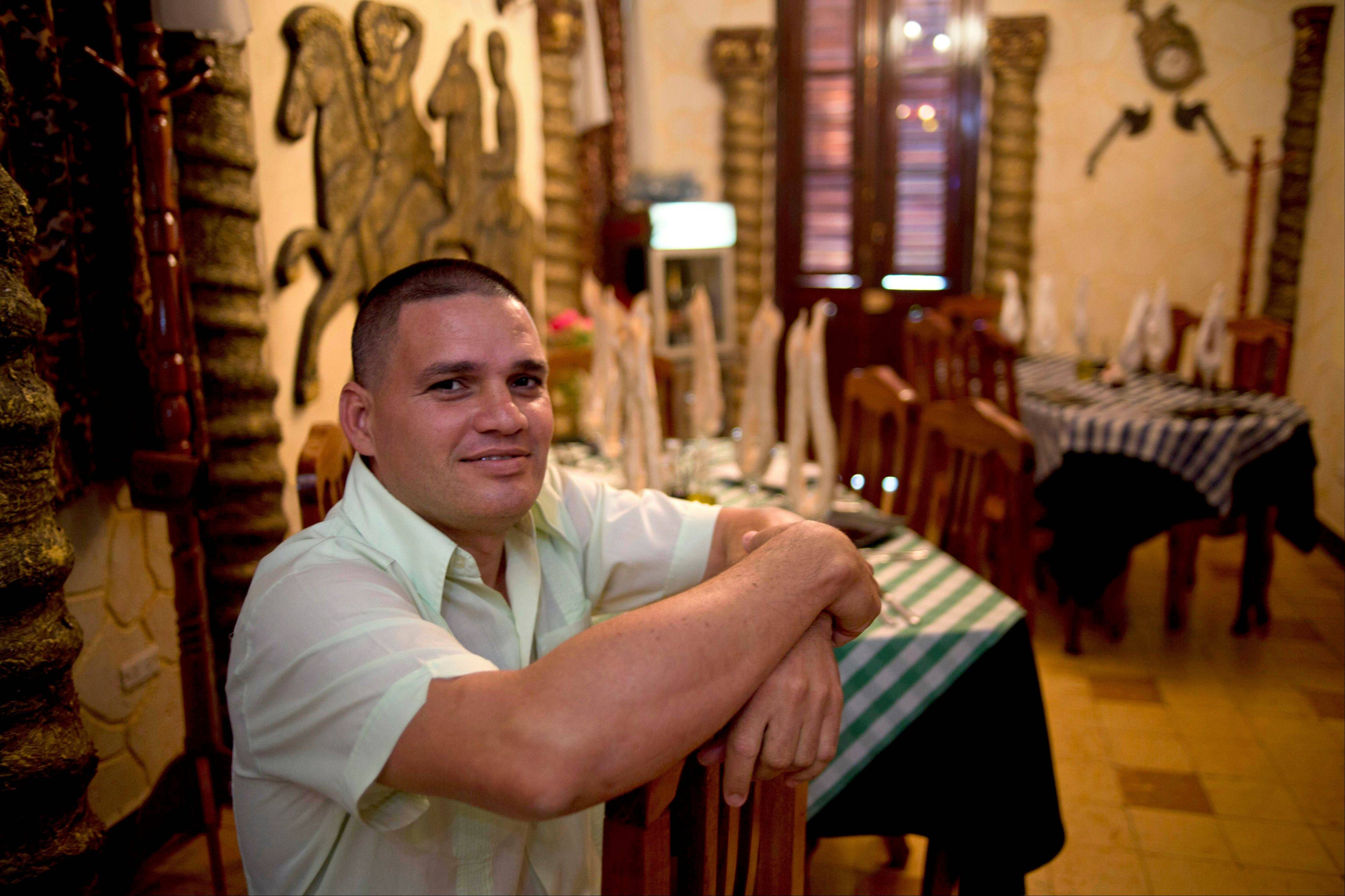 Javier Acosta, chef and owner of Parthenon restaurant, in his restaurant in Havana, Cuba.