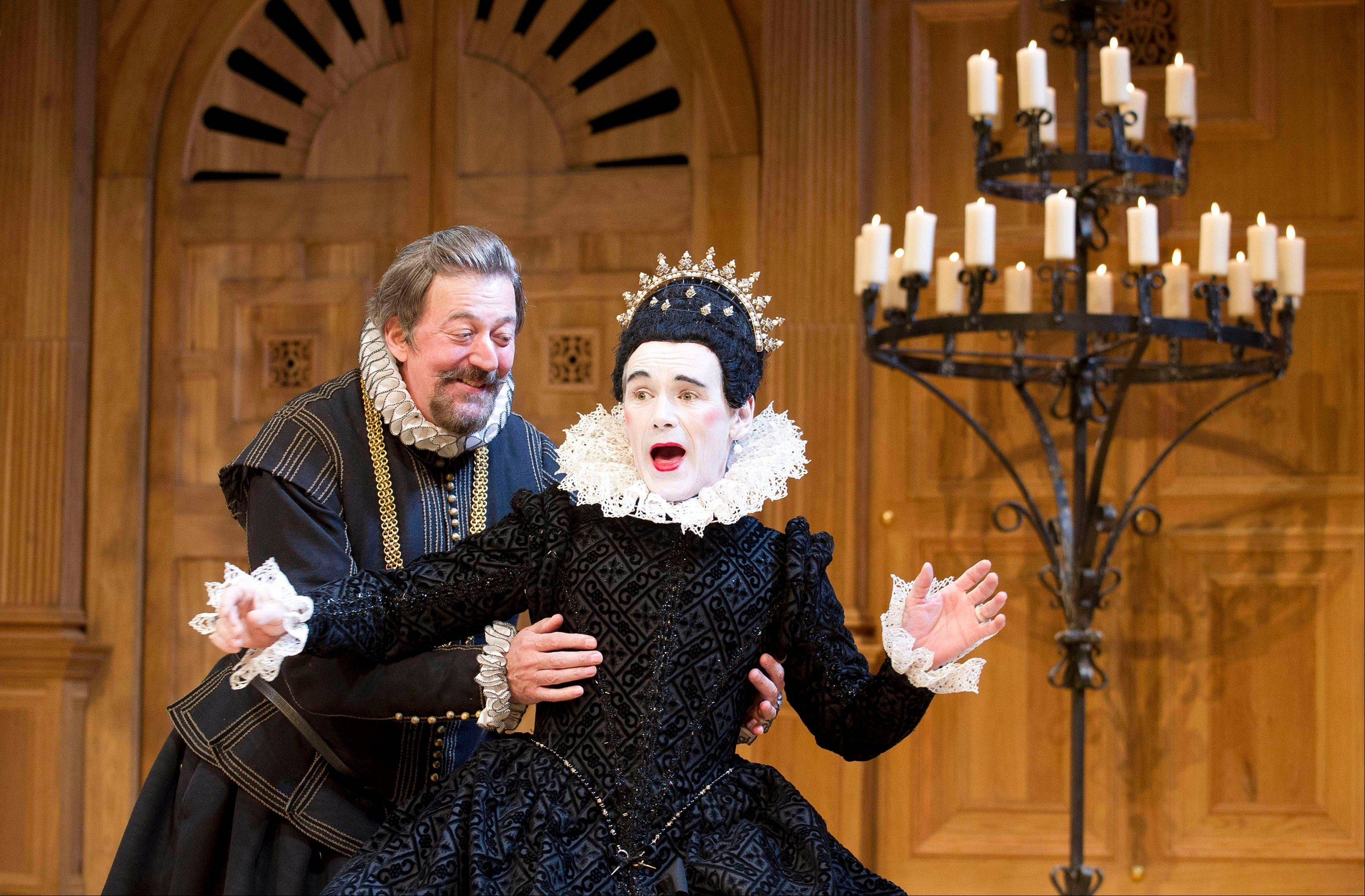 "This undated theater image released by Boneau/Bryan-Brown shows Mark Rylance as Olivia, right, and Stephen Fry as Malvolio during a performance of William Shakespeare's ""Twelfth Night."""