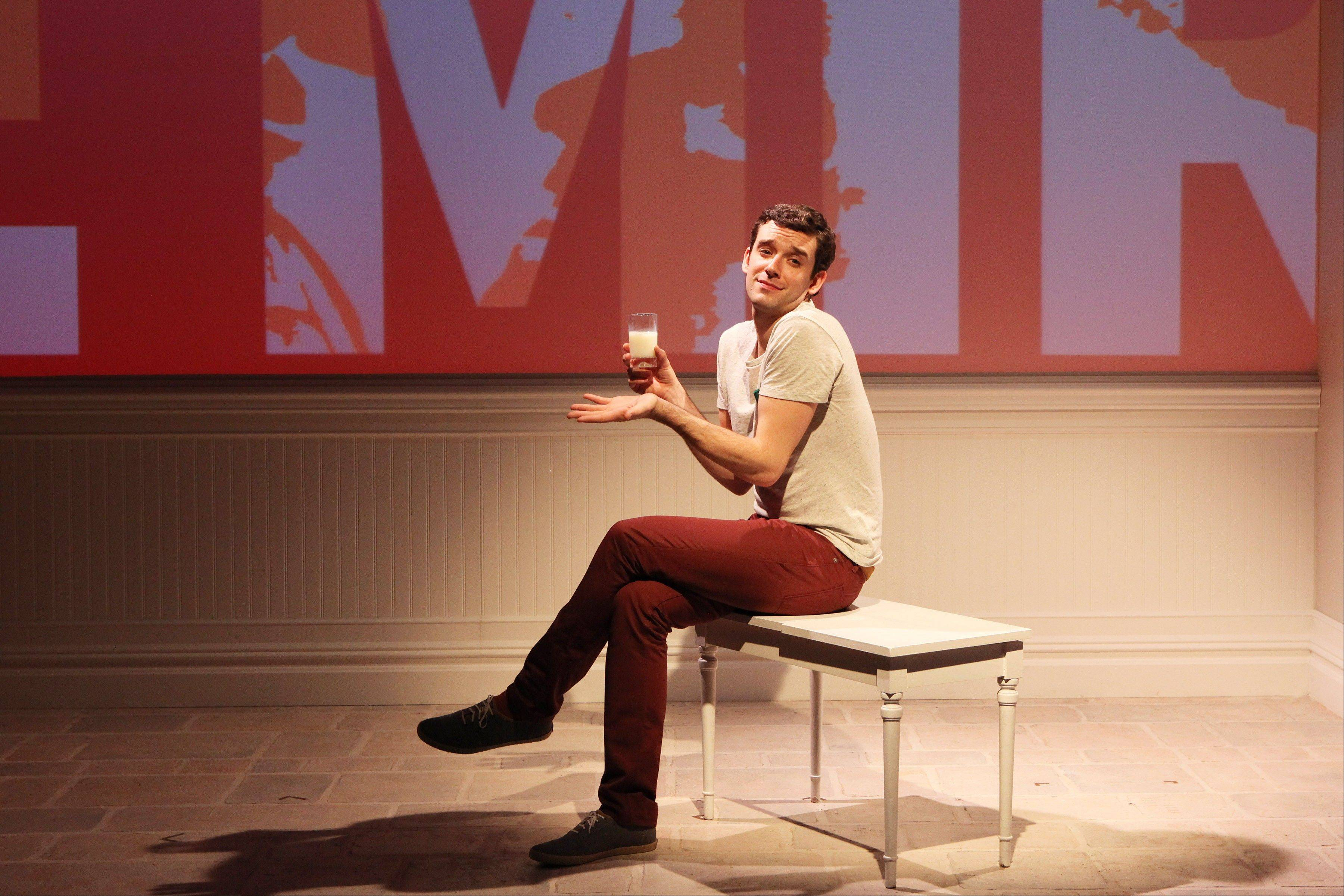 "This theater image released by Richard Kornberg & Associates shows Michael Urie during a performance of ""Buyer & Cellar,"" in New York. The Juilliard-trained Urie plays a struggling actor who lands a job as a clerk in an underground mall of quaint shops."