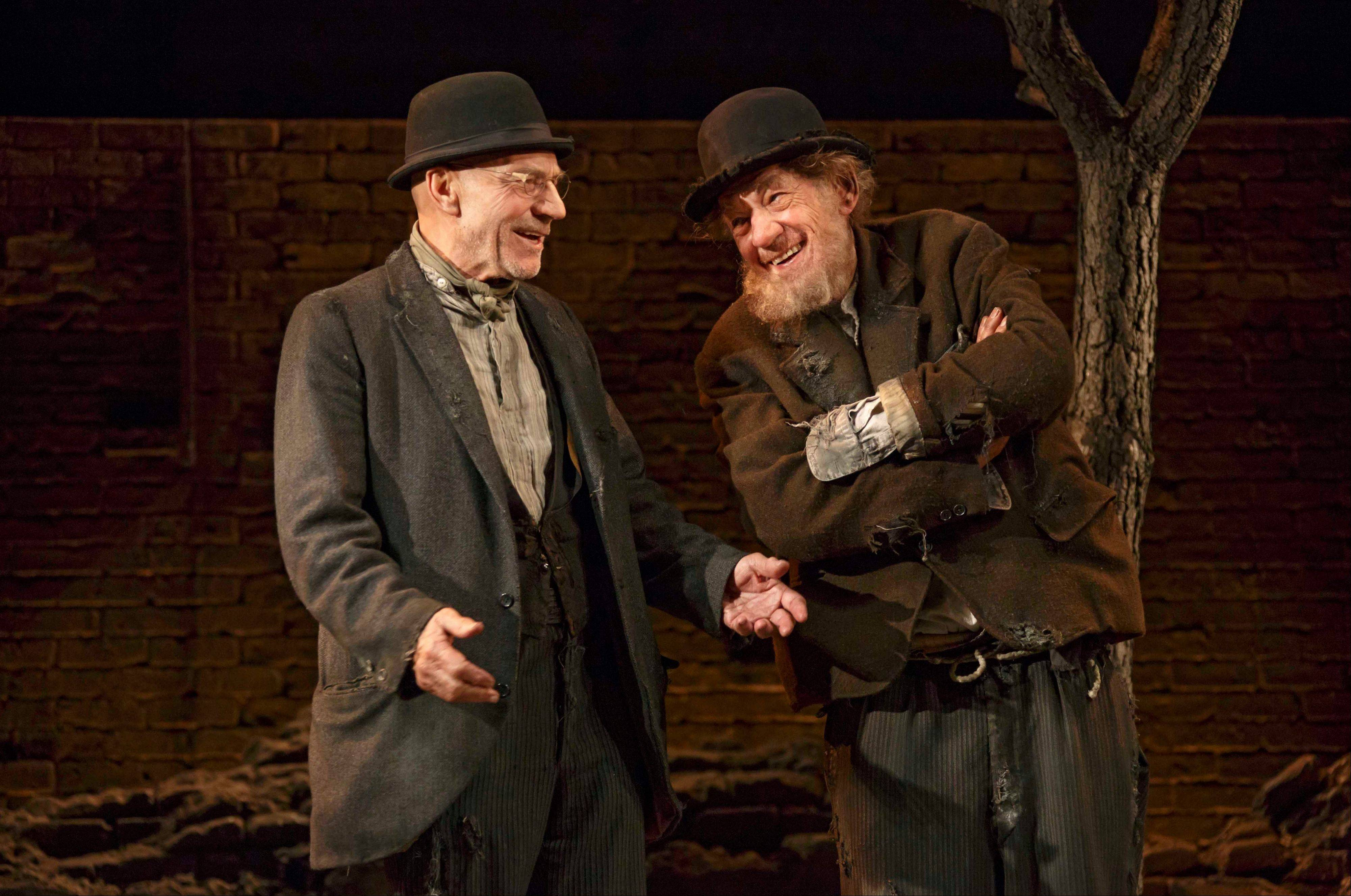 "This photo released by Boneau/Bryan-Brown shows Patrick Stewart, left, and Ian McKellen in Samuel Beckett's play ""Waiting for Godot,"" directed by Sean Mathias at Broadway's Cort Theatre in New York."