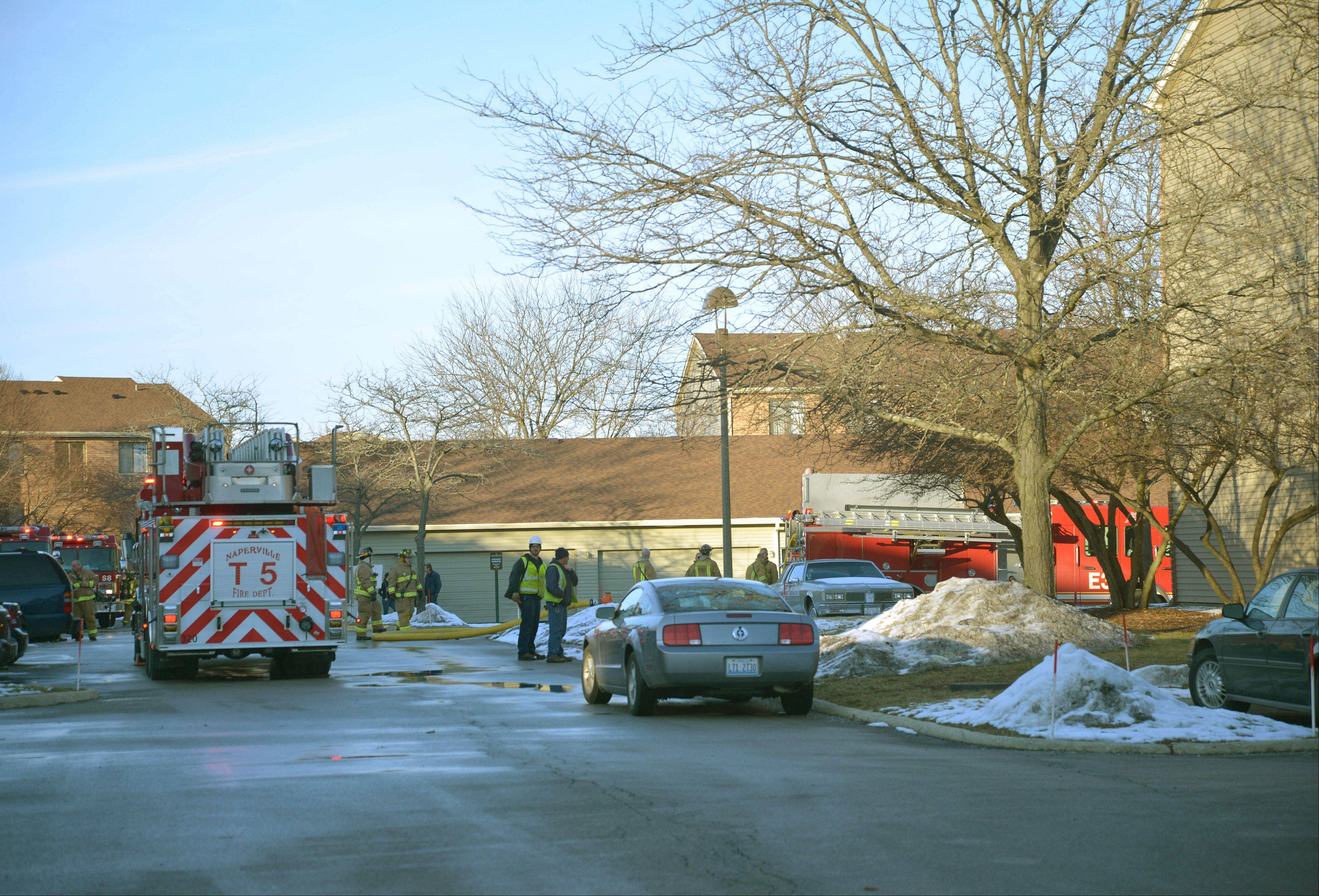 Naperville firefighters battled an apartment fire Friday afternoon on the 1400 block of Fairway Drive.