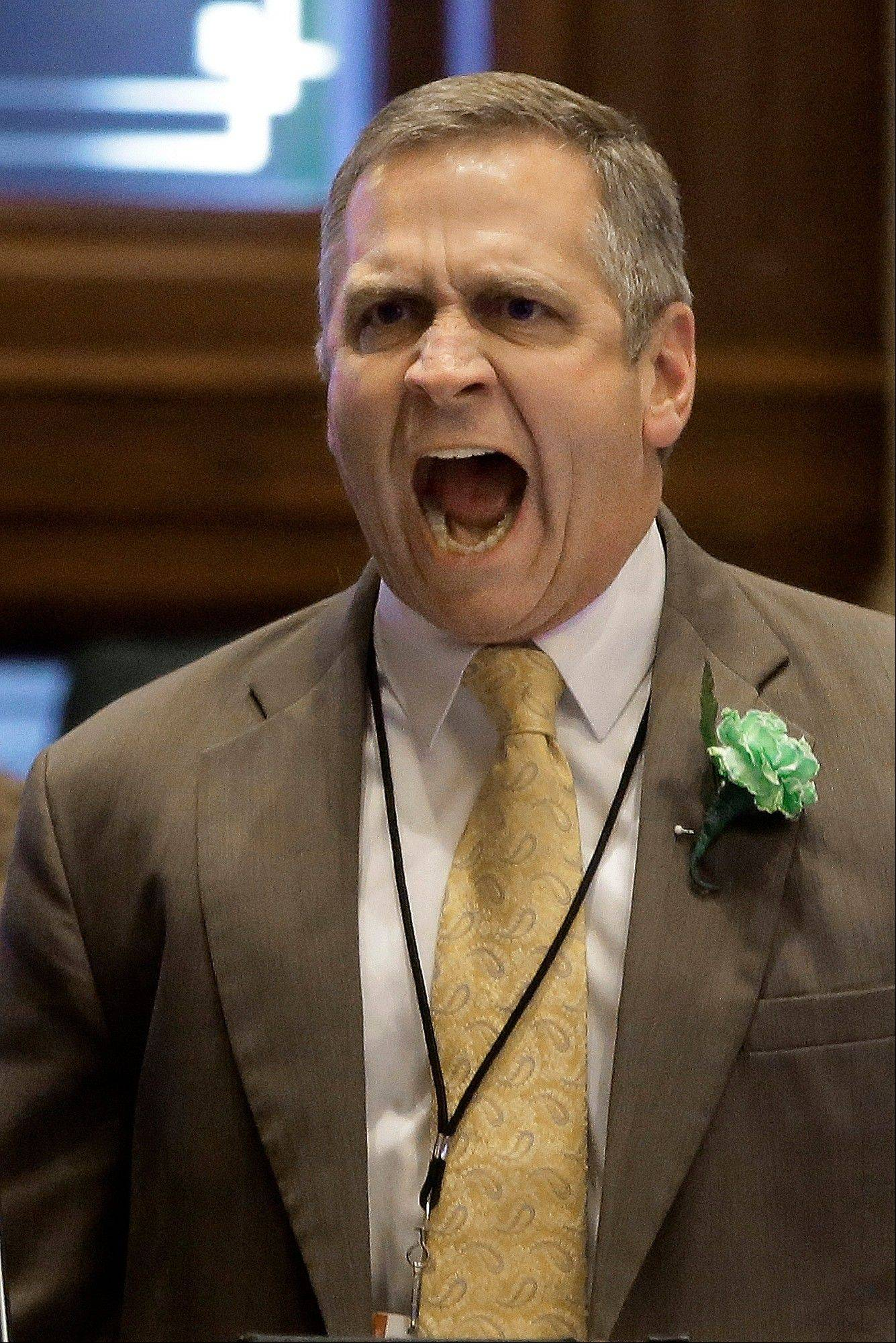 "State Rep. Mike Bost, a Carbondale Republican, argues concealed carry legislation while on the House floor back in March. His emotional outburst spurred Highwood Democrat Scott Drury to say, ""We don't want someone like that carrying a concealed weapon."""