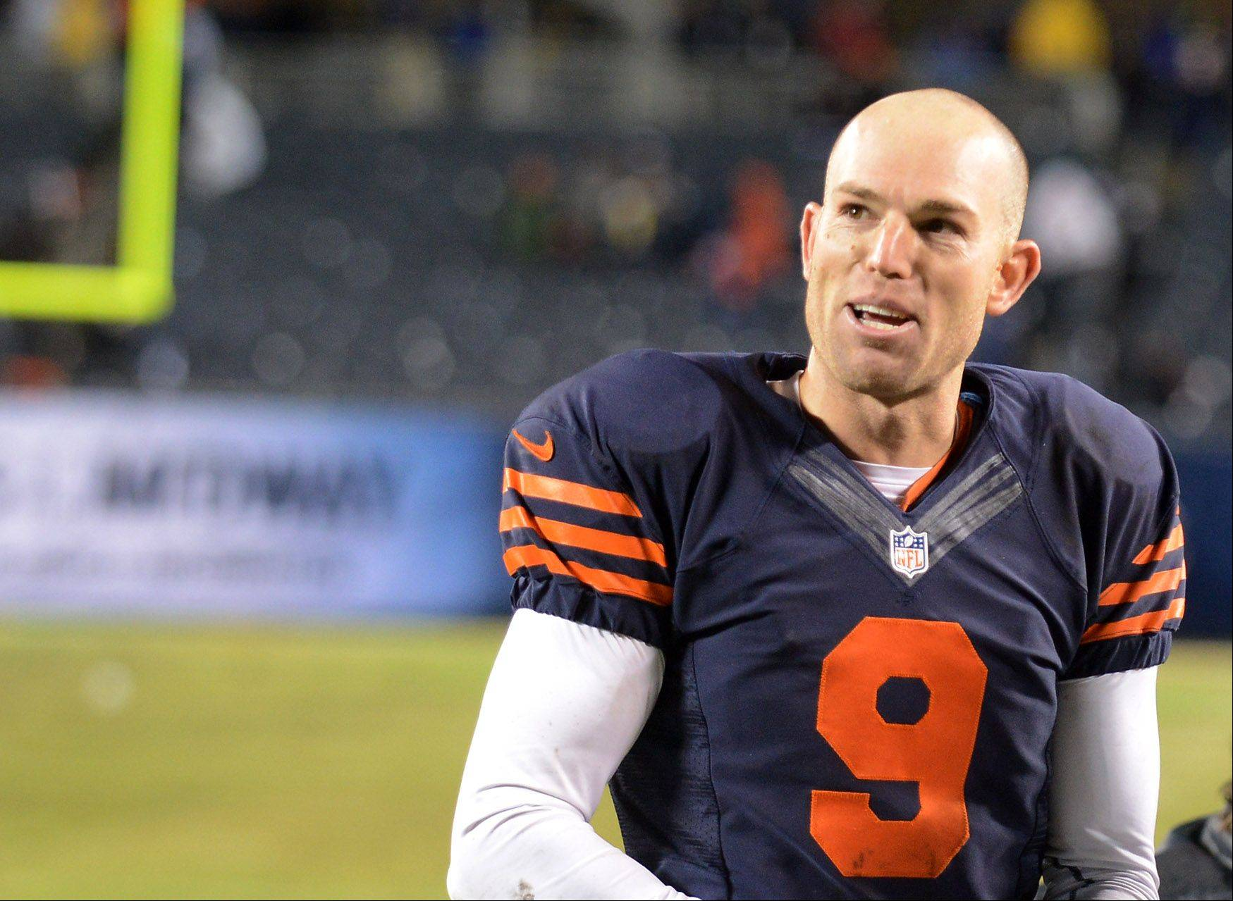 Bears kicker Robbie Gould smiles as he comes off the field after kicking the game-winning field goal in overtime against the Baltimore Ravens.