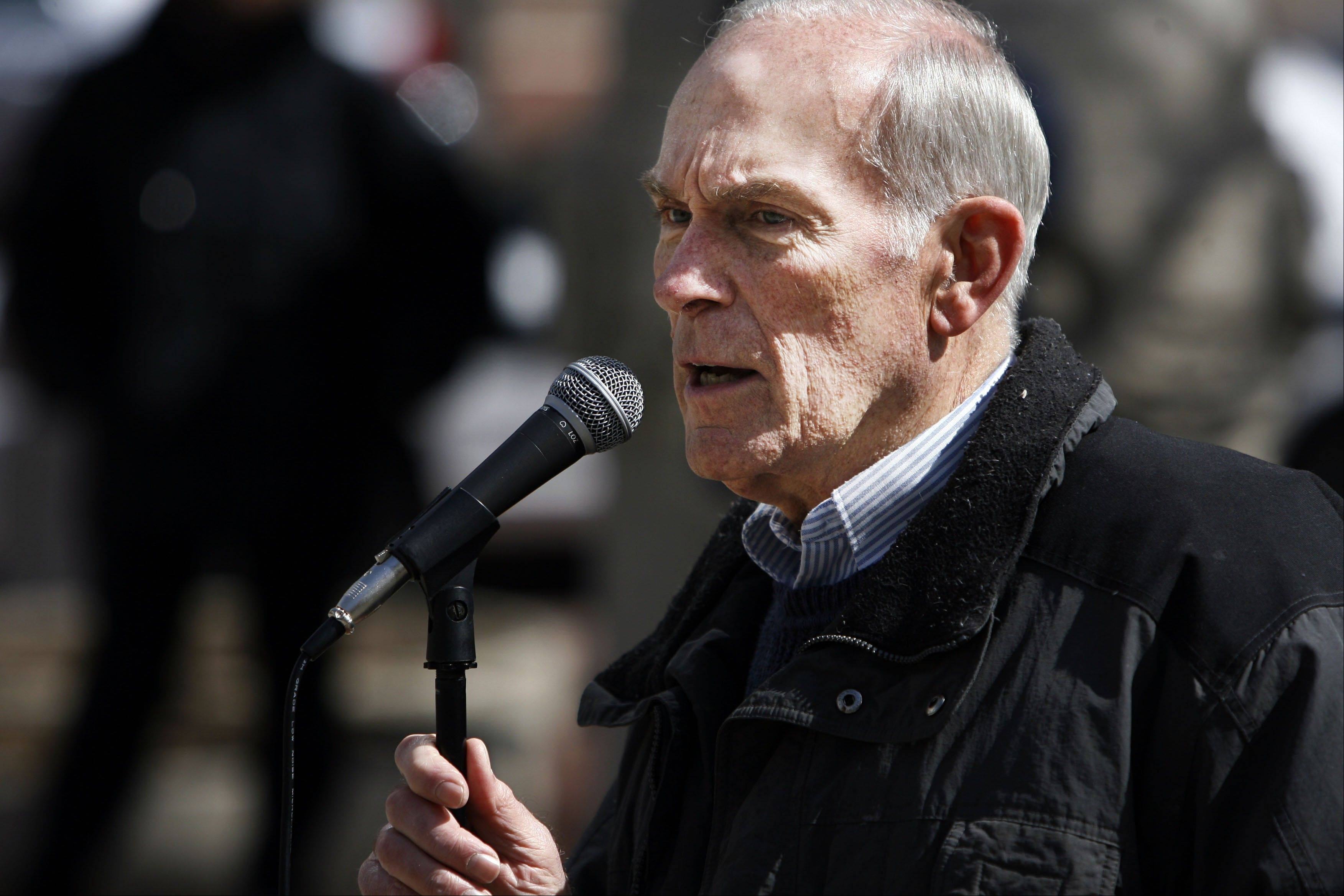 This March 29, 2008, file photo shows former Congressman Andy Jacobs Jr. during the Peace Rally on Monument Circle in Indianapolis, Ind. Jacobs Jr., a former longtime Indiana congressman, has died at age 81, according to a family spokesman. Gary Taylor, a family friend and former campaign manager for Jacobs, said Saturday the former Democratic lawmaker had died earlier in the day peacefully at his Indianapolis home.