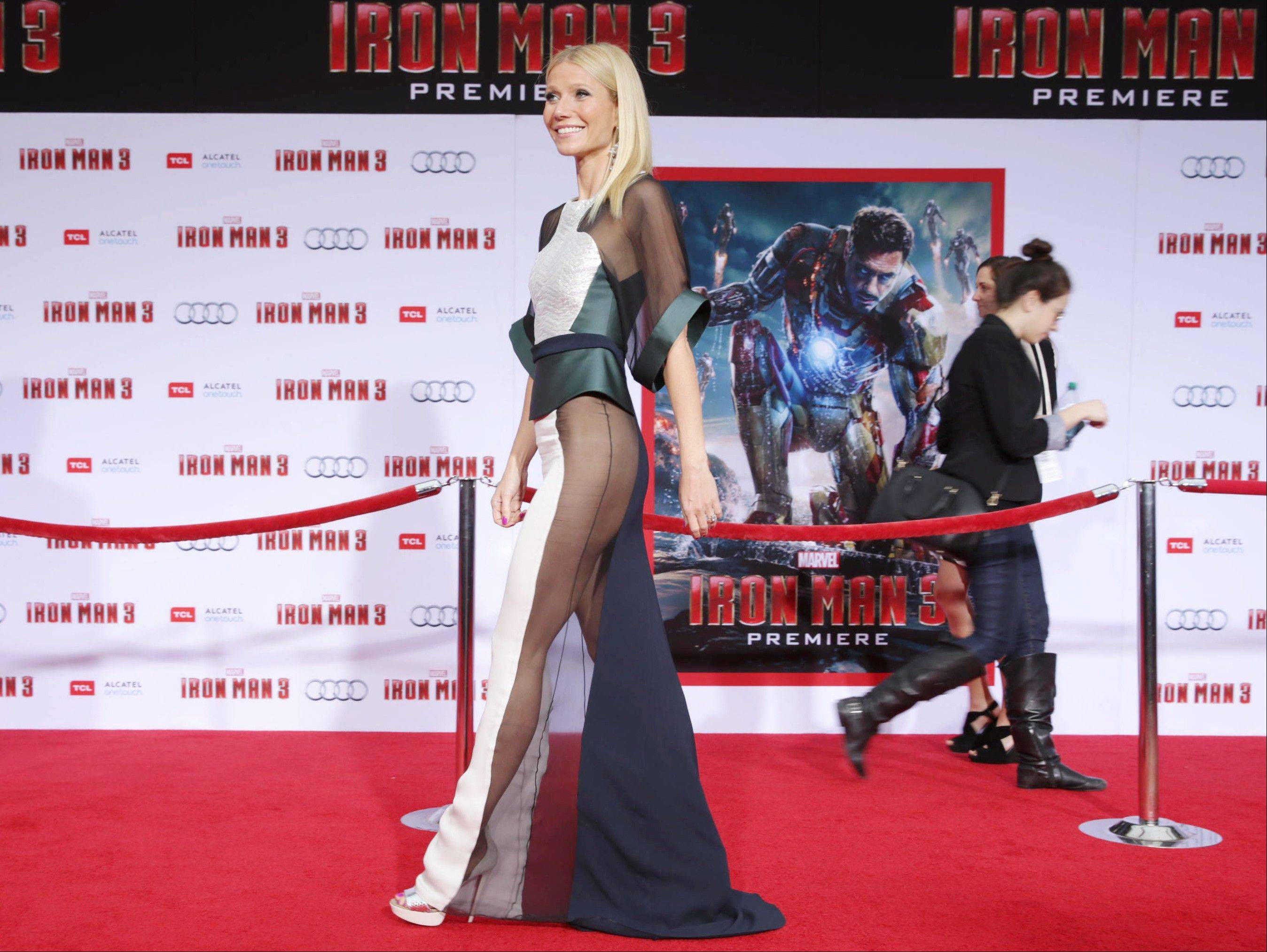 "This April 24, 2013 file photo shows actress Gwyneth Paltrow wearing a sheer dress at the world premiere of ""Iron Man 3"" in Los Angeles. The 40-year-old actress stars as Pepper Potts, Tony Stark's love interest and assistant-turned-business partner in the ""Iron Man"" trilogy."