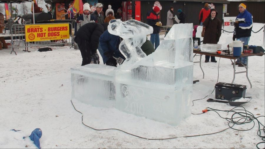 Watch ice sculptors as part of the Cool Fool Kite Festival on New Year's Day in Milwaukee, Wisconsin.