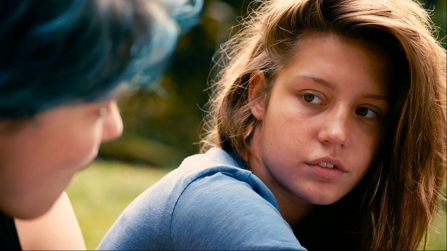 "This file photo released by courtesy of Sundance Selects shows Lea Seydoux, left, as Emma and Adele Exarchopoulos as Adele in the film, ""Blue Is the Warmest Color,"" directed by Abdellatif Kechiche."