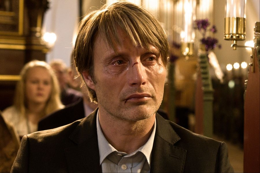 "This file image released by Magnolia Pictures shows Mads Mikkelsen in a scene from ""The Hunt"" (Jagten)."