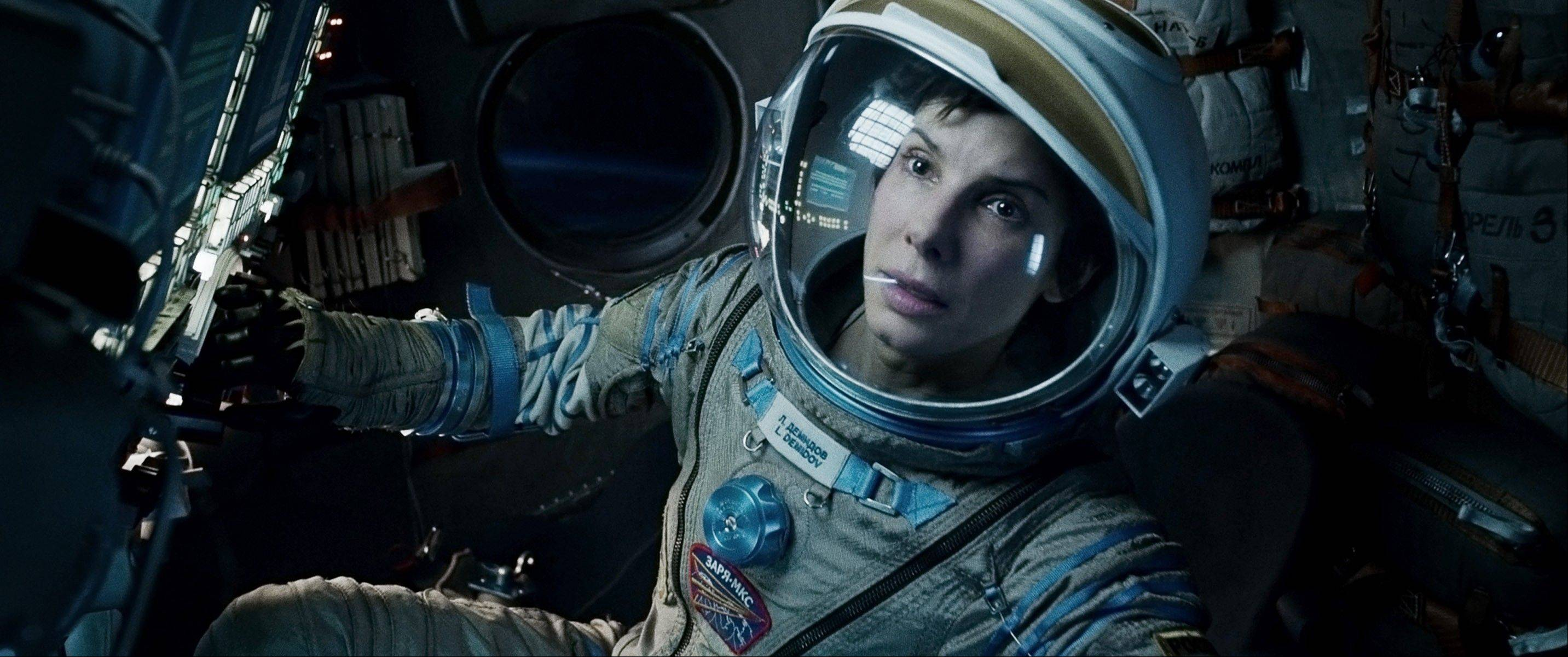 "This film image released by Warner Bros. Pictures shows Sandra Bullock in a scene from ""Gravity."""