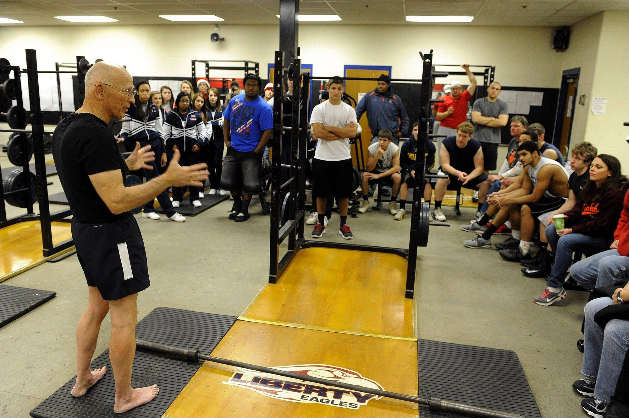 "Photo by Richard A. Lipski/Washington Post ""There's life after 20,"" Durante says as he gives a pep talk to his teenage competition before a pullup contest that raised $615 for Liberty High School in Bealeton, Va."