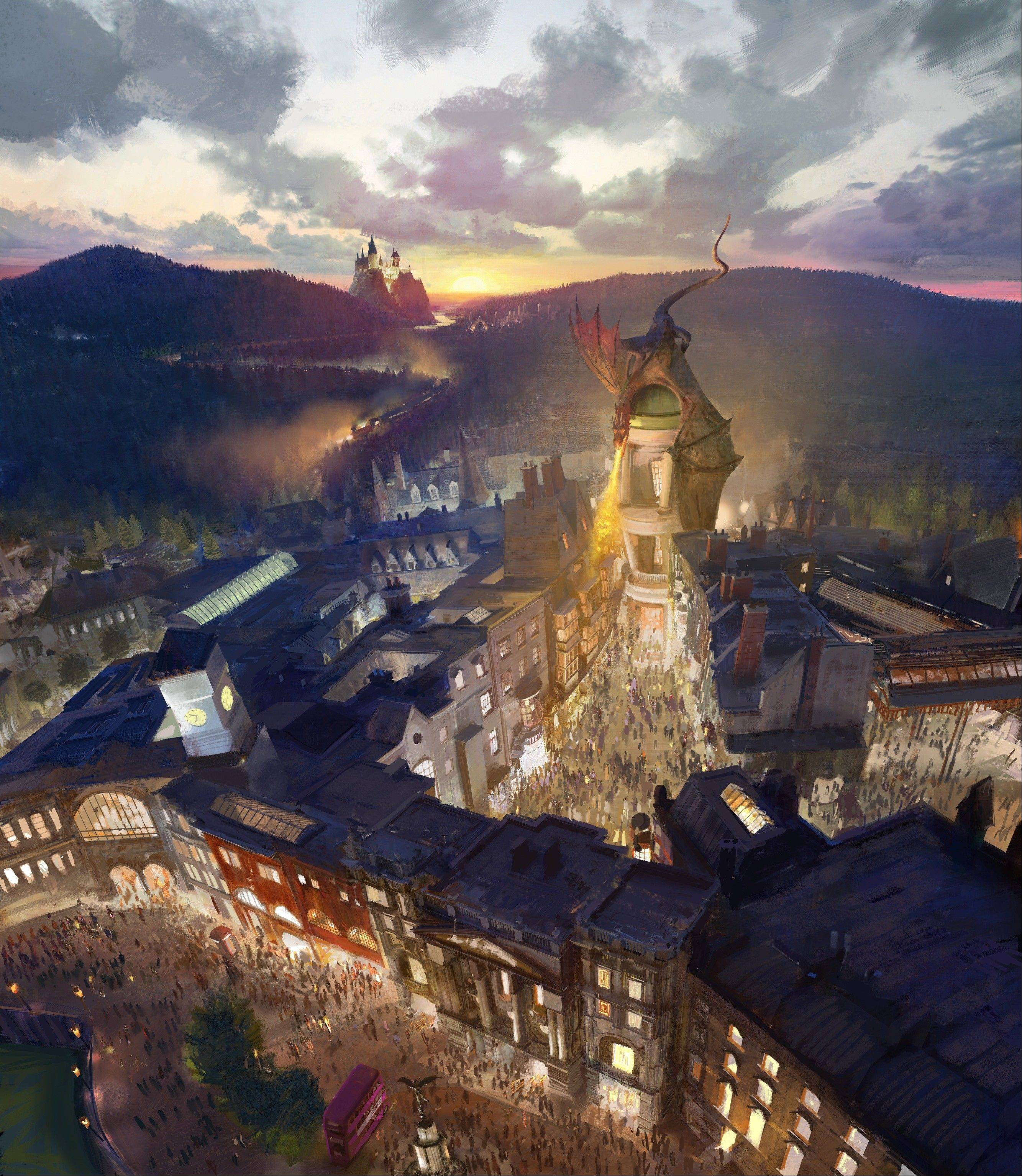 This artist rendering provided by NBC Universal shows the new Harry Potter-themed area of the Universal theme park in Orlando, Fla., planned for 2014, which was inspired partly by the fictional Diagon Alley from the Harry Potter books and movies. The area will be linked to the existing Wizarding World of Harry Potter attraction by a train called the Hogwarts Express.