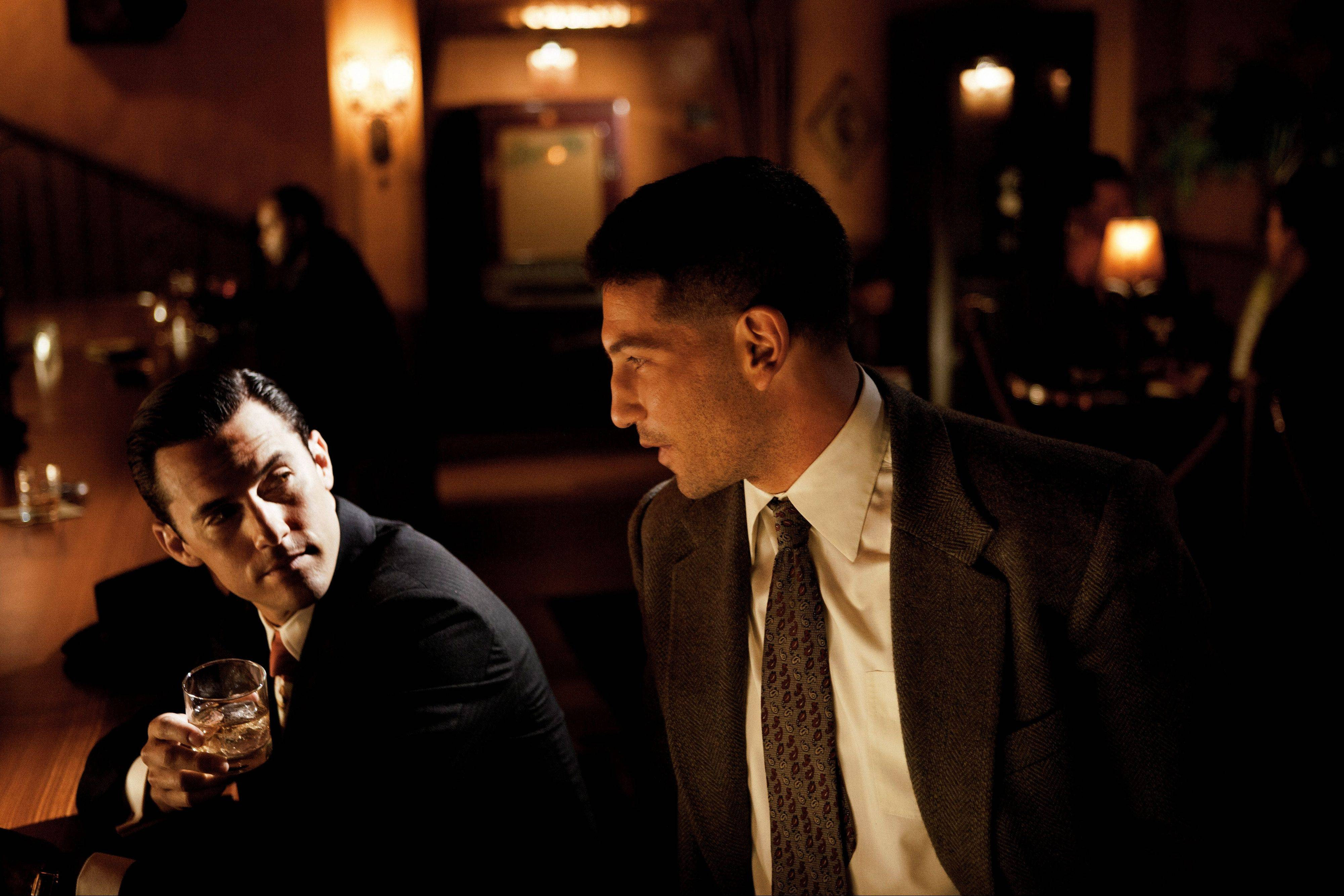 "This photo provided by TNT shows Milo Ventimiglia, left, and Jon Bernthal in a scene from the TNT drama series, ""Mob City."" Here's a sassy, two-fisted show inspired by love: creator Frank Darabont's love for the grand film-noir tradition, which he honors impeccably in this crime drama set in 1940s L.A."