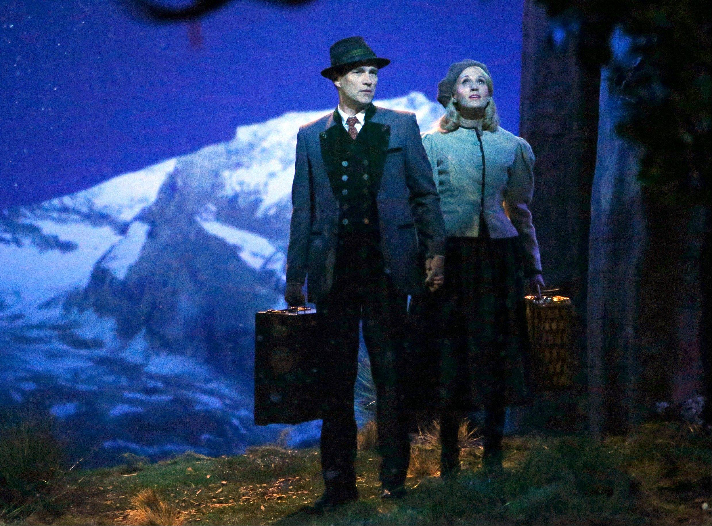 "This photo provided by NBC shows Stephen Moyer, left, as Captain Von Trapp and Carrie Underwood as Maria, in ""The Sound of Music Live!"" This holiday production had splendid production values and supporting players, a beloved story, incomparable Rodgers and Hammerstein score. It was a fine way to spend three hours, even for viewers busily posting snarky tweets. It made history _ the first such full-scale musical staged live by a network in more than a half-century."