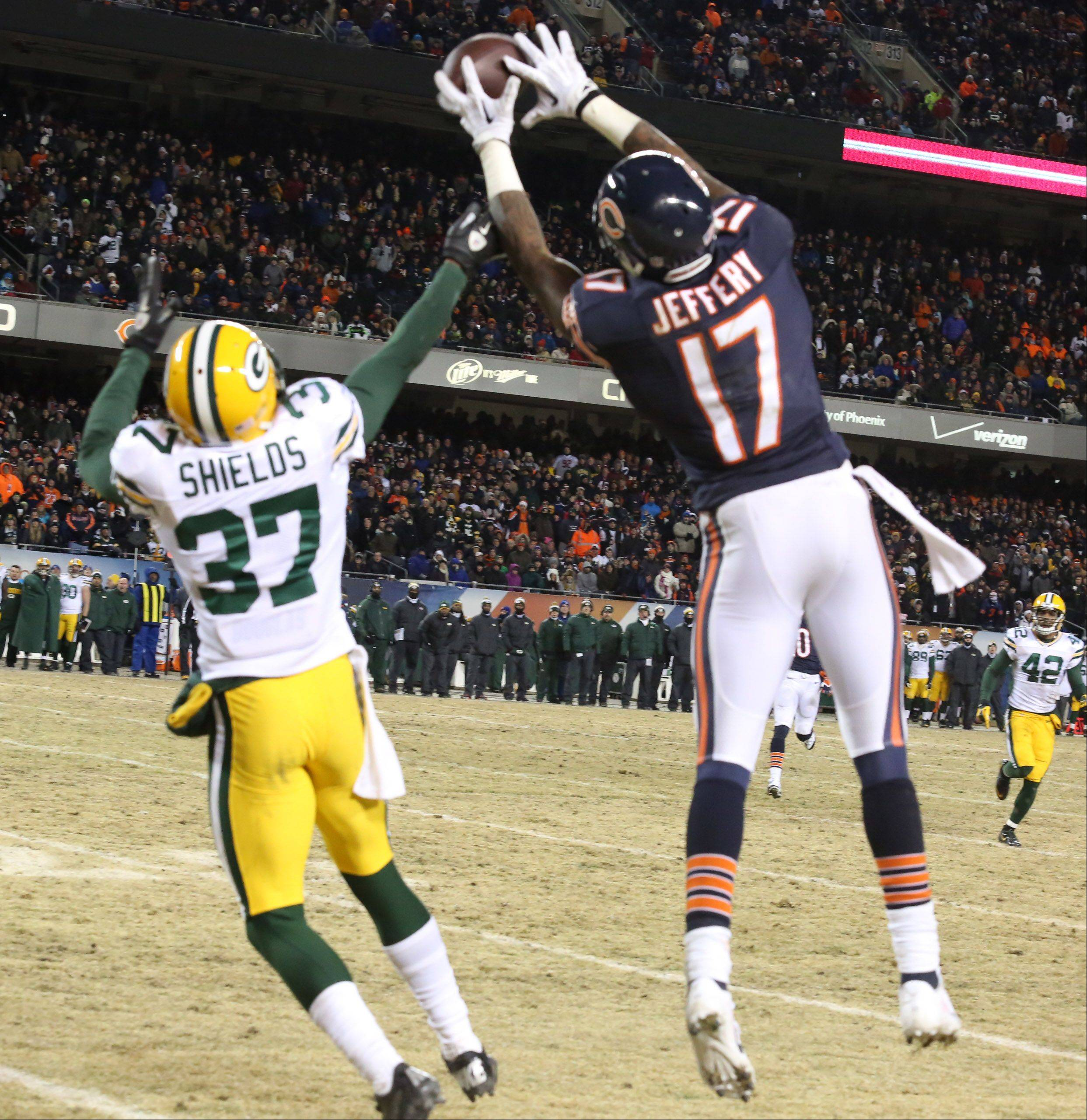 Chicago Bears wide receiver Alshon Jeffery missed catching this pass by Chicago Bears quarterback Jay Cutler while covered by Green Bay Packers cornerback Sam Shields on Sunday at Soldier Field in Chicago.