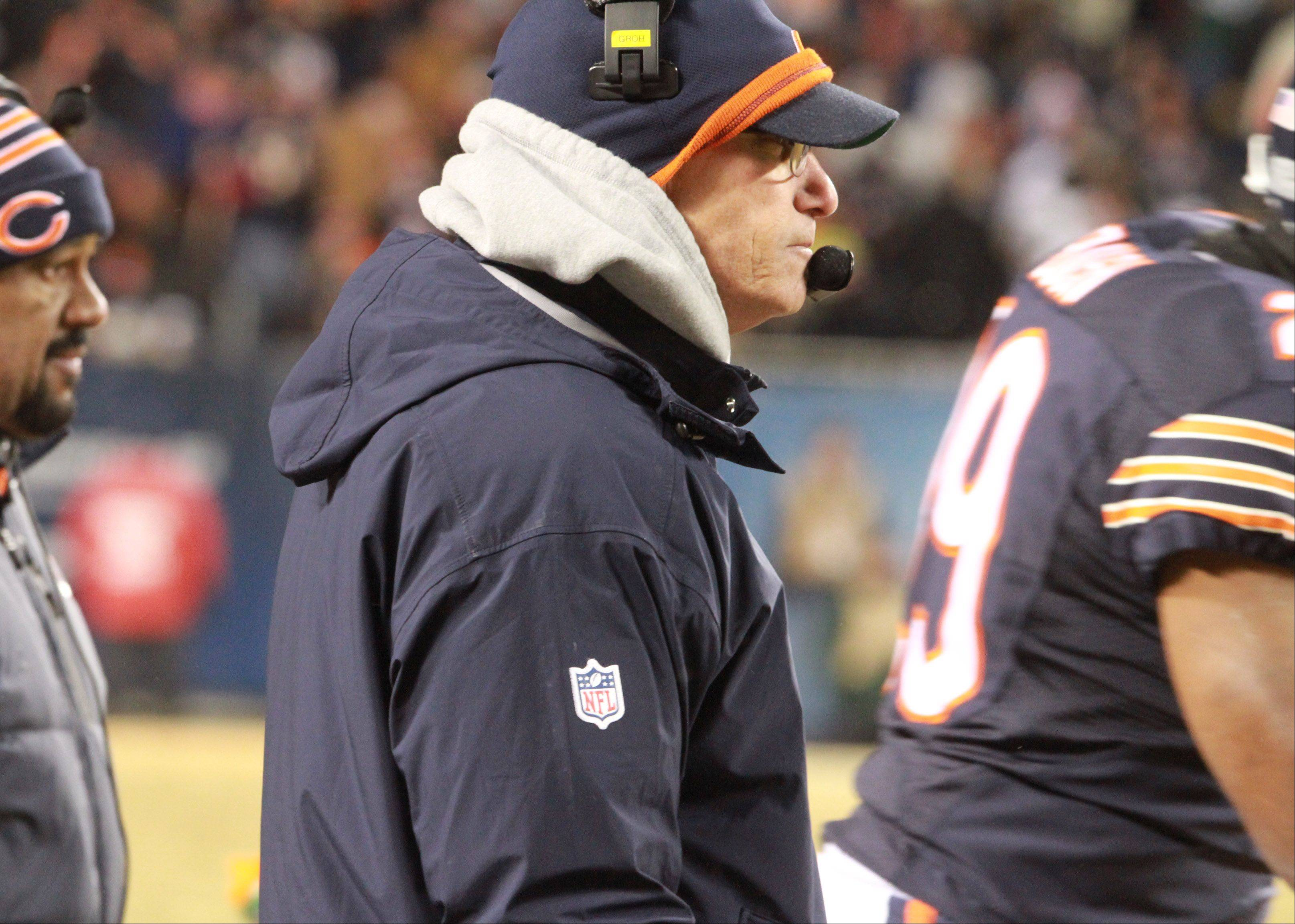 Chicago Bears head coach Marc Trestman during a timeout in the fourth quarter on Sunday at Soldier Field in Chicago.
