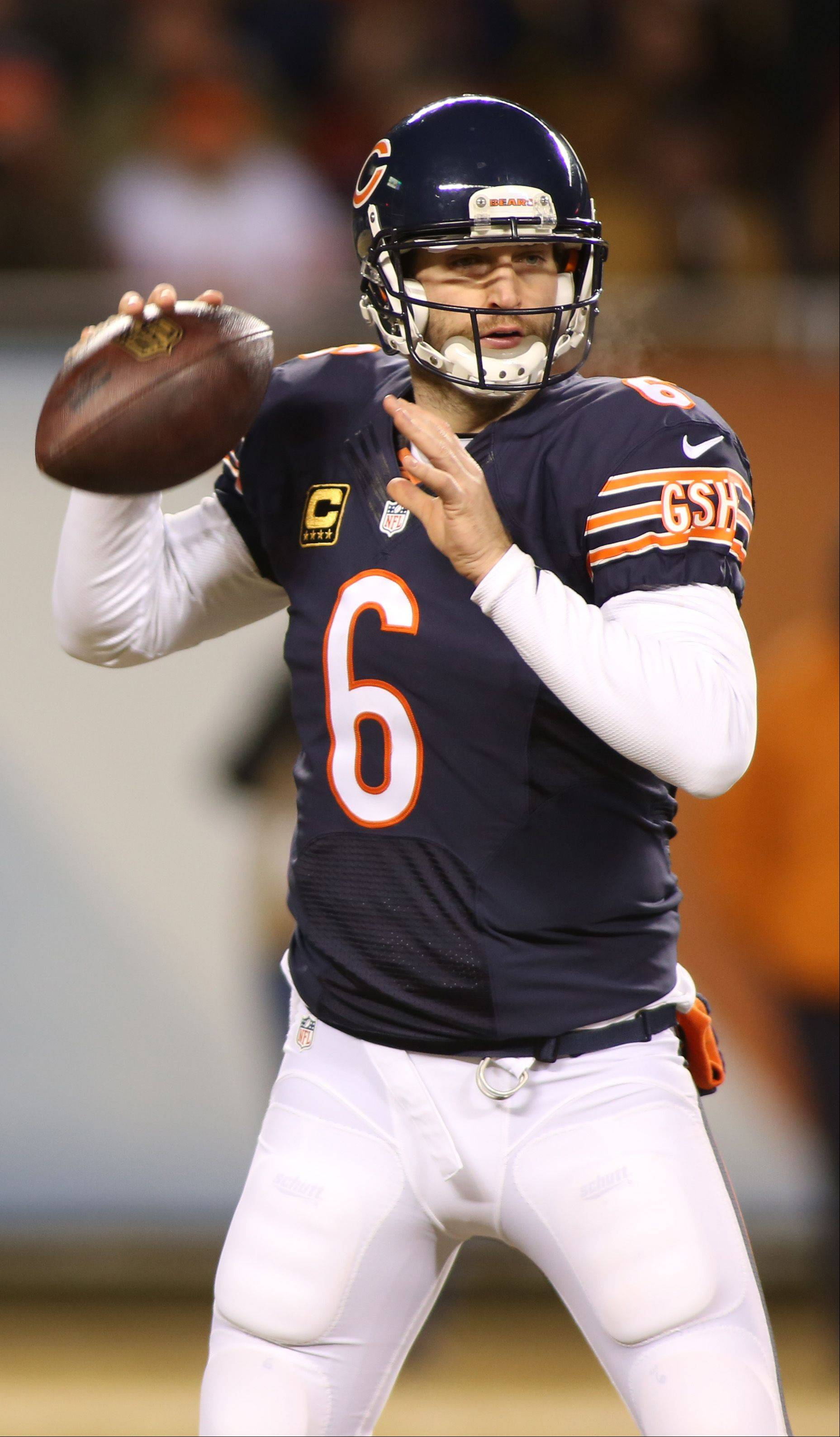 The Bears' Jay Cutler looks over the middle to pass against the Packers.