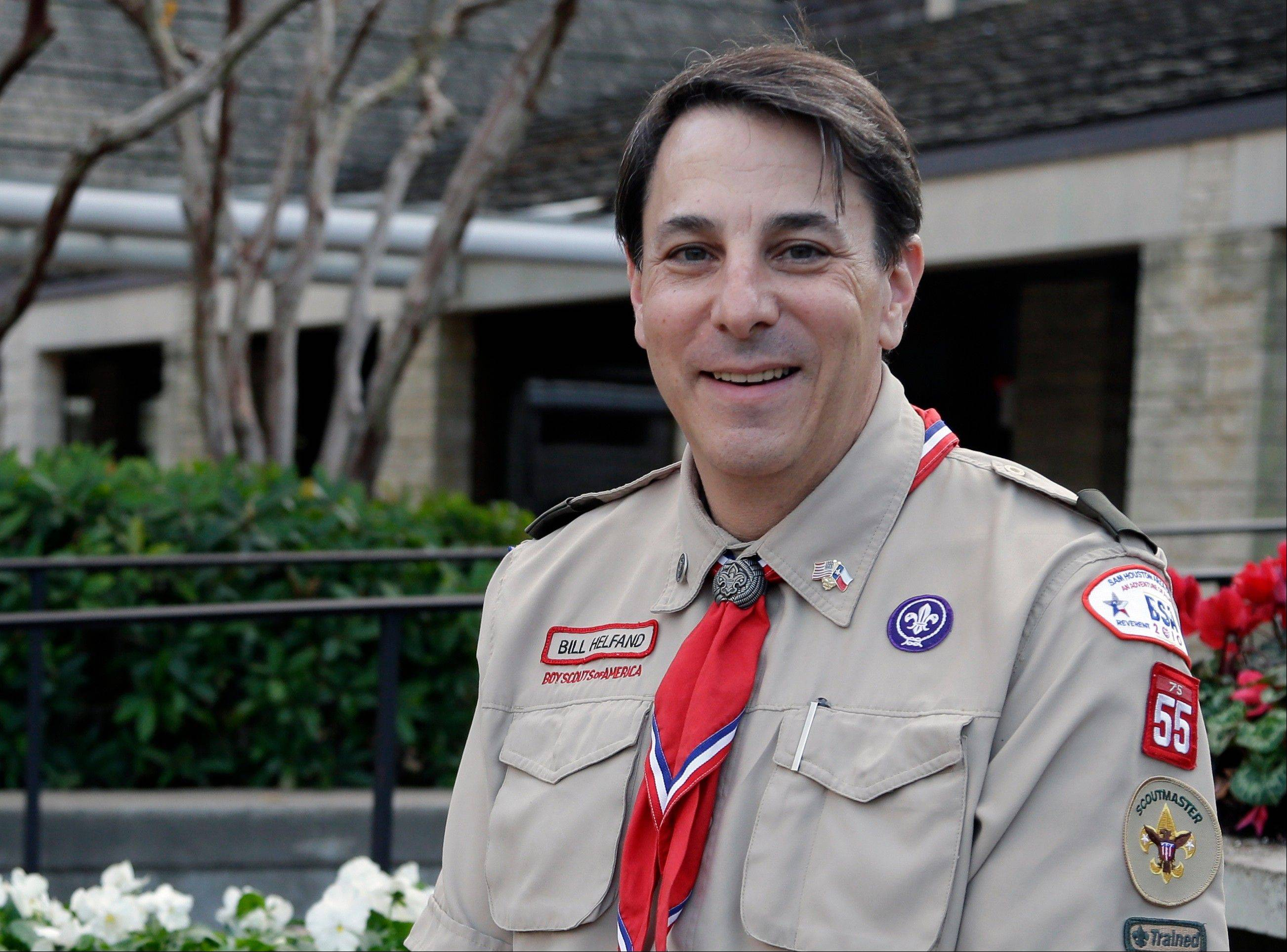 "In the wake of the Boy Scouts of America changing its policy to accept openly gay youths, Bill Helfand, the scoutmaster of Boy Scout Troop 55 in Houston, says membership in his troop has remained steady at about 225 boys. ""We never considered sexual orientation, and I don't think many troops really did,"" he says. ""I don't know whether we had Scouts who are homosexual. I don't inquire ... It's not a matter of concern."""
