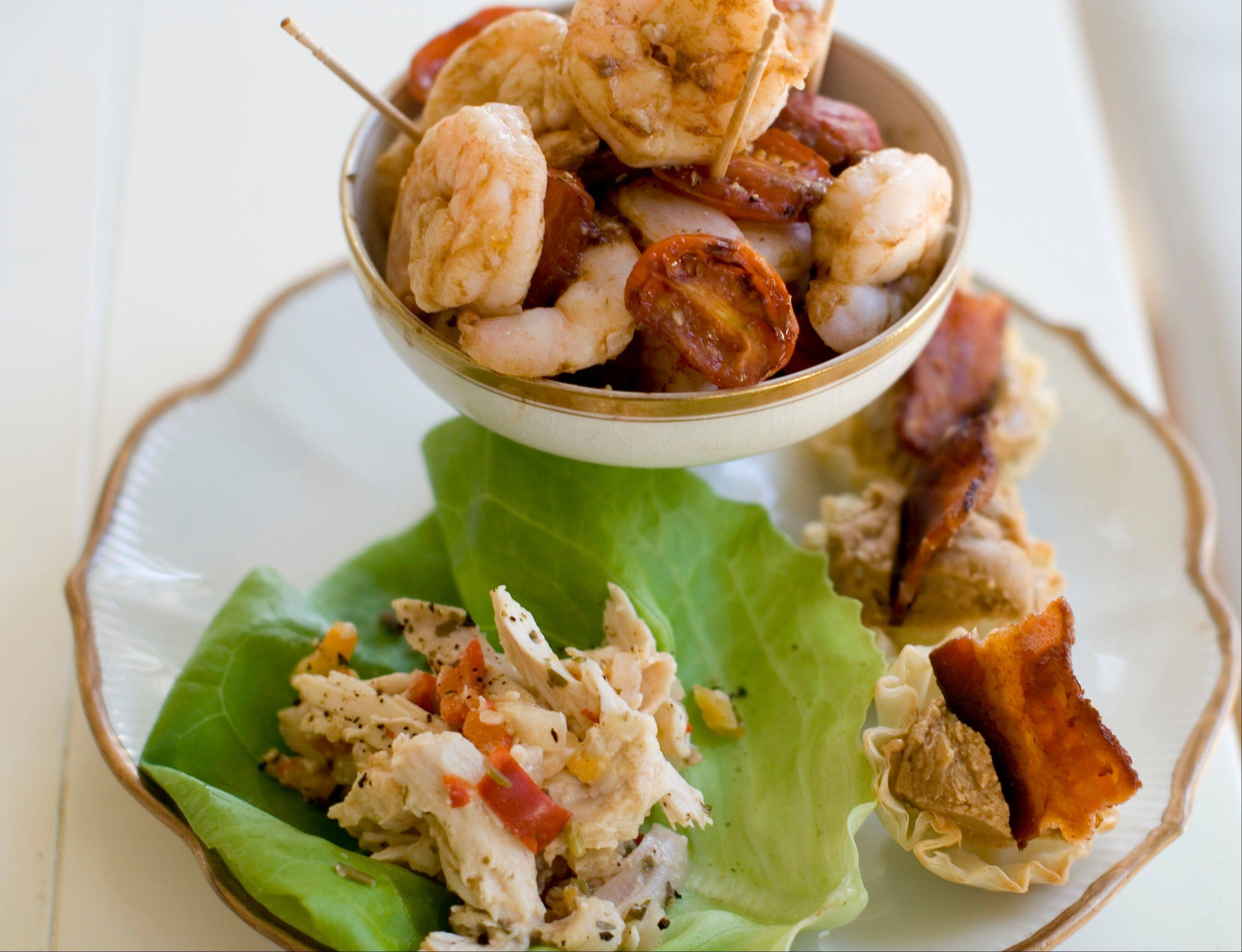 For New Year's Eve noshing try roasted shrimp cocktail, pineapple chicken lettuce wraps, and Elvis phyllo cups.