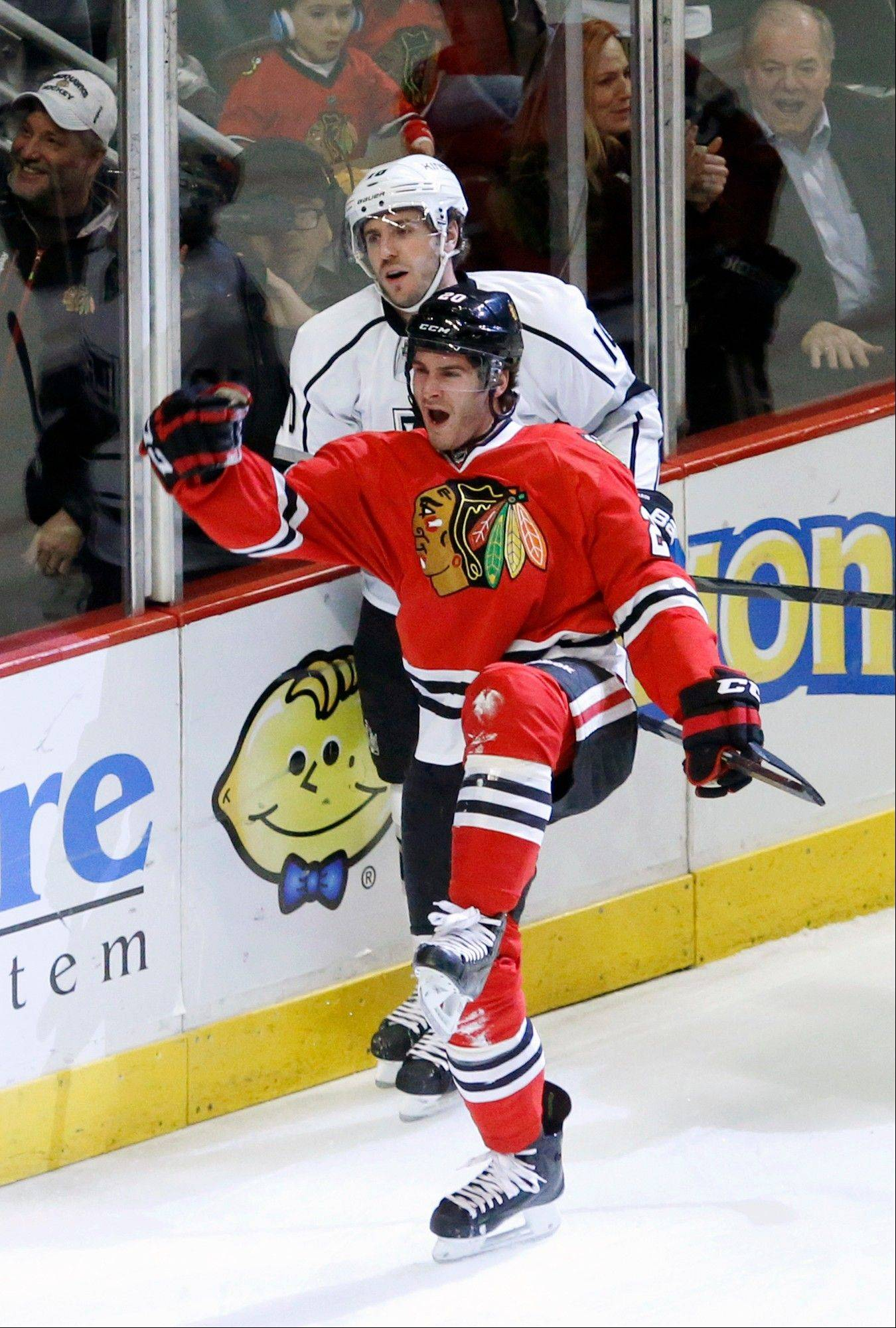 Blackhawks left wing Brandon Saad celebrates his goal against the Los Angeles Kings during the first period Monday at the United Center.