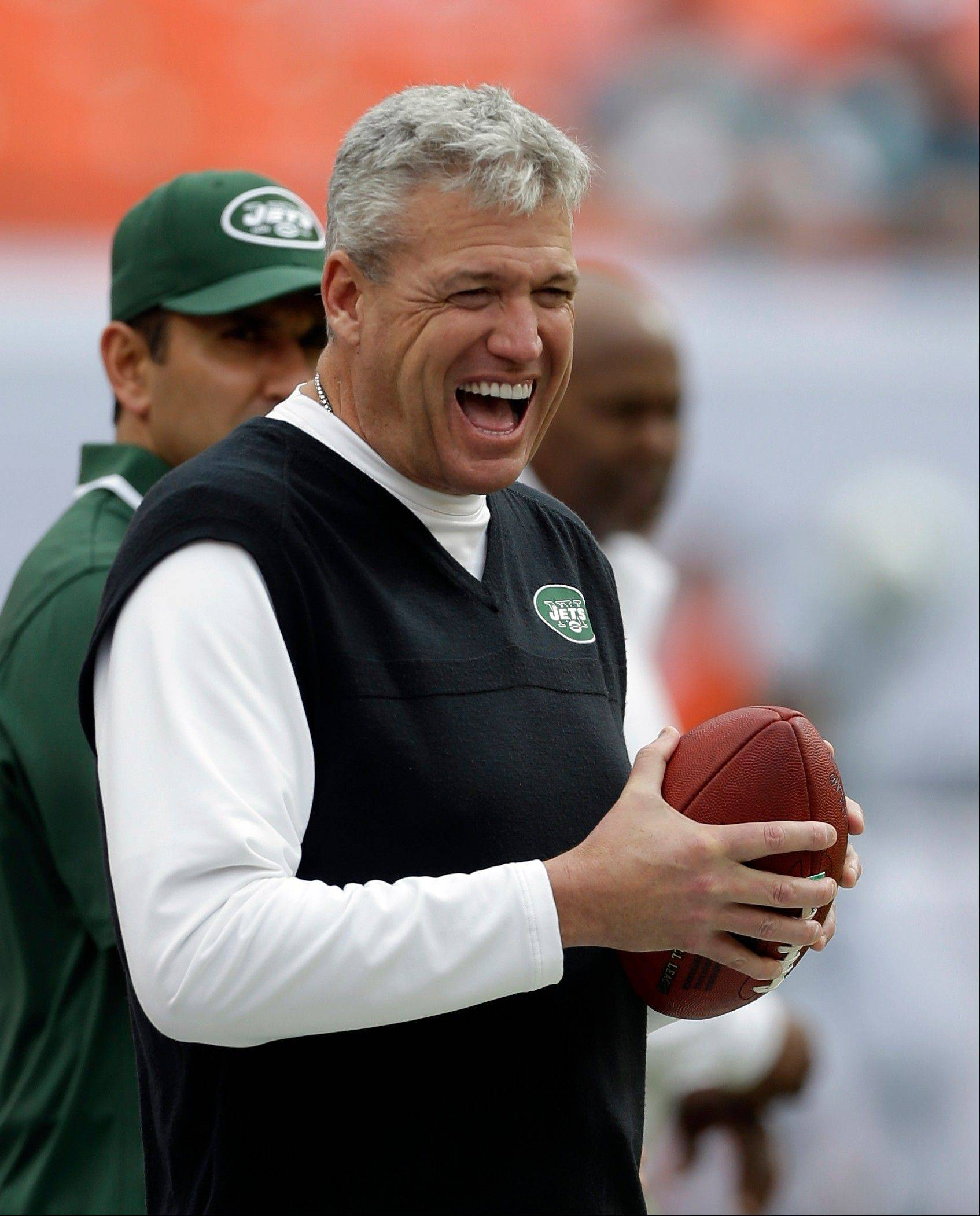 New York Jets head coach Rex Ryan has a laugh on the sideline before Sunday�s game against the Miami Dolphins.