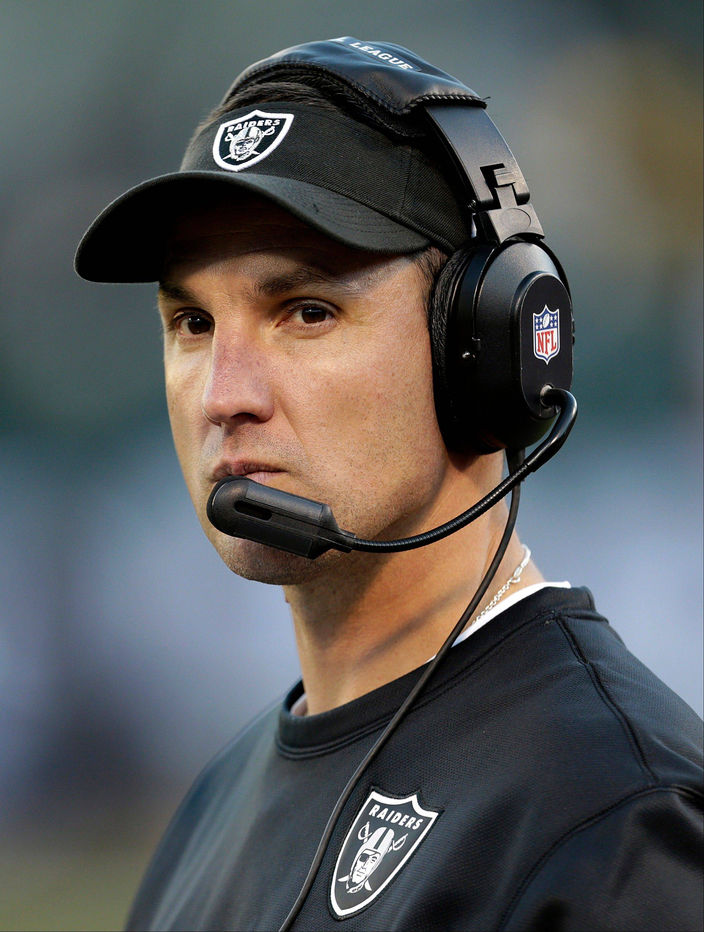 Oakland Raiders head coach Dennis Allen stands on the sideline during the fourth quarter of Sunday�s home game against the Denver Broncos.