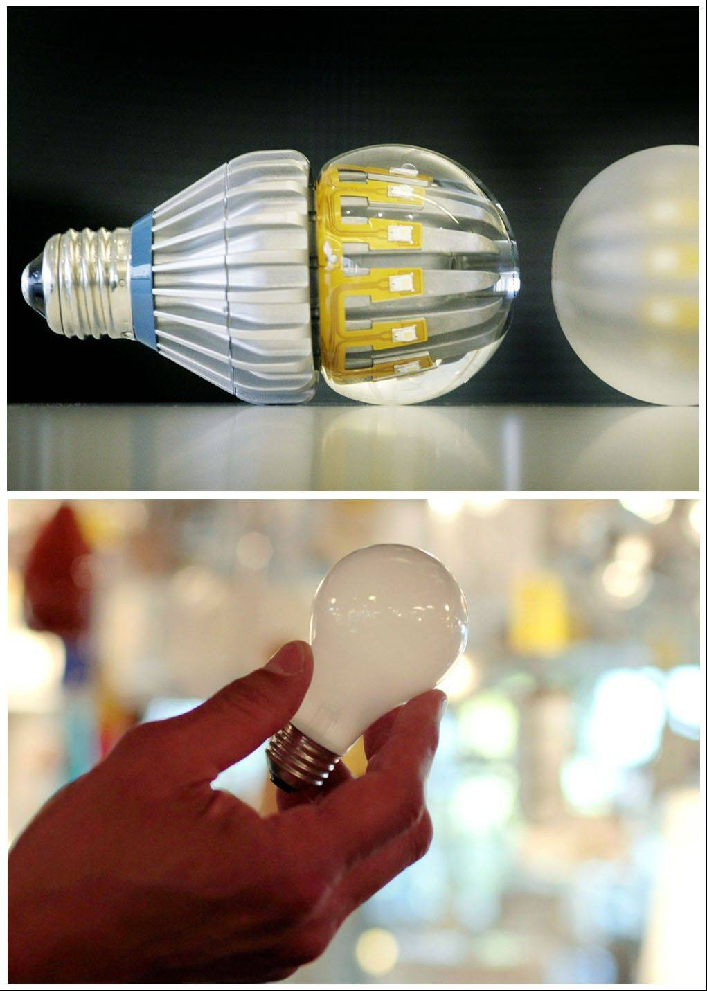LED bulbs, top, use 70 percent to 80 percent less power than incandescent light bulbs, below.