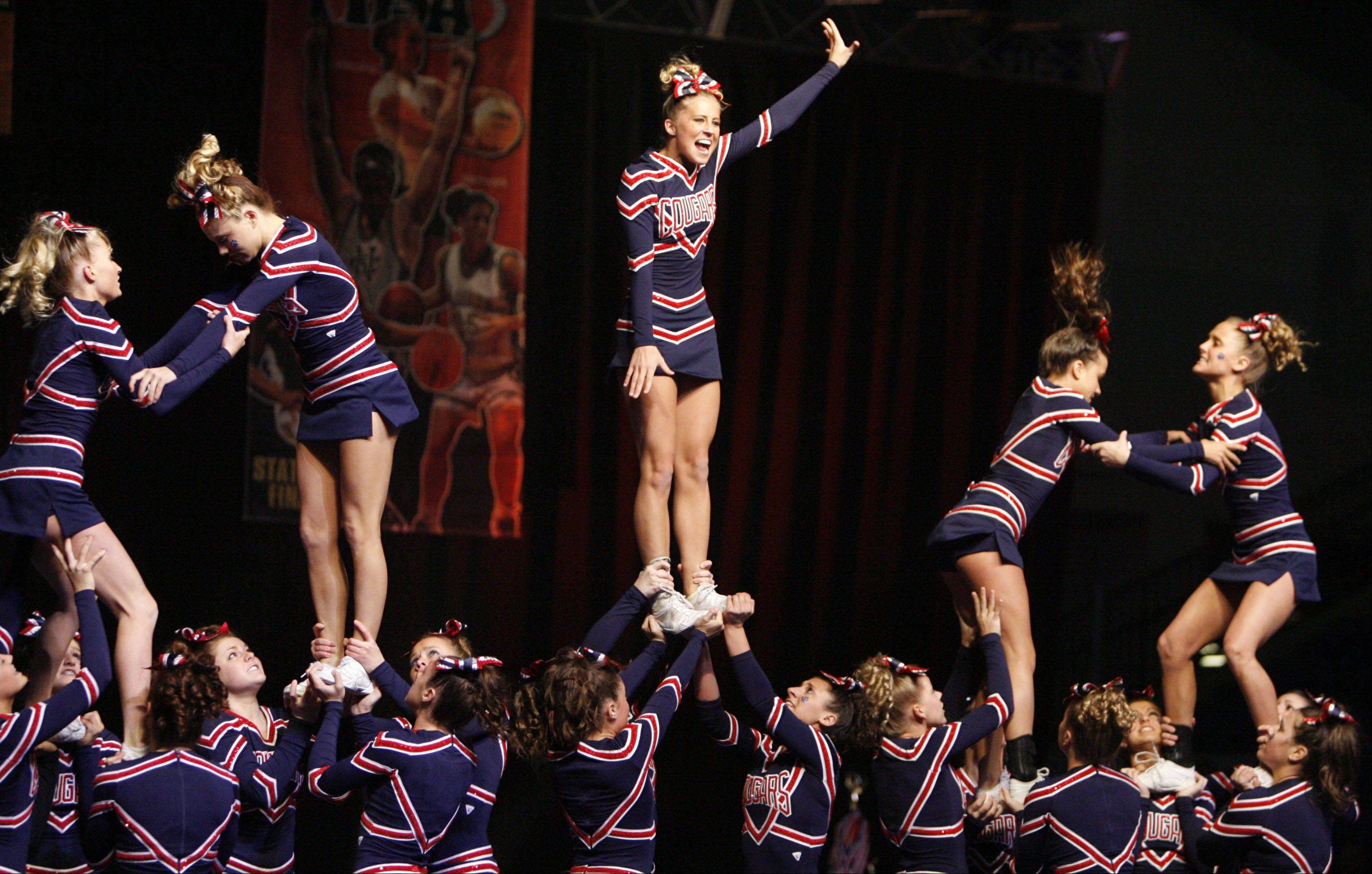 The Winter Meltdown IHSA Cheerleading & Dance Competition comes to the Sears Centre Arena in Hoffman Estates on Saturday, Jan. 4. The team from Conant High School performs at a previous edition of the IHSA State Competitive Cheerleading Finals.