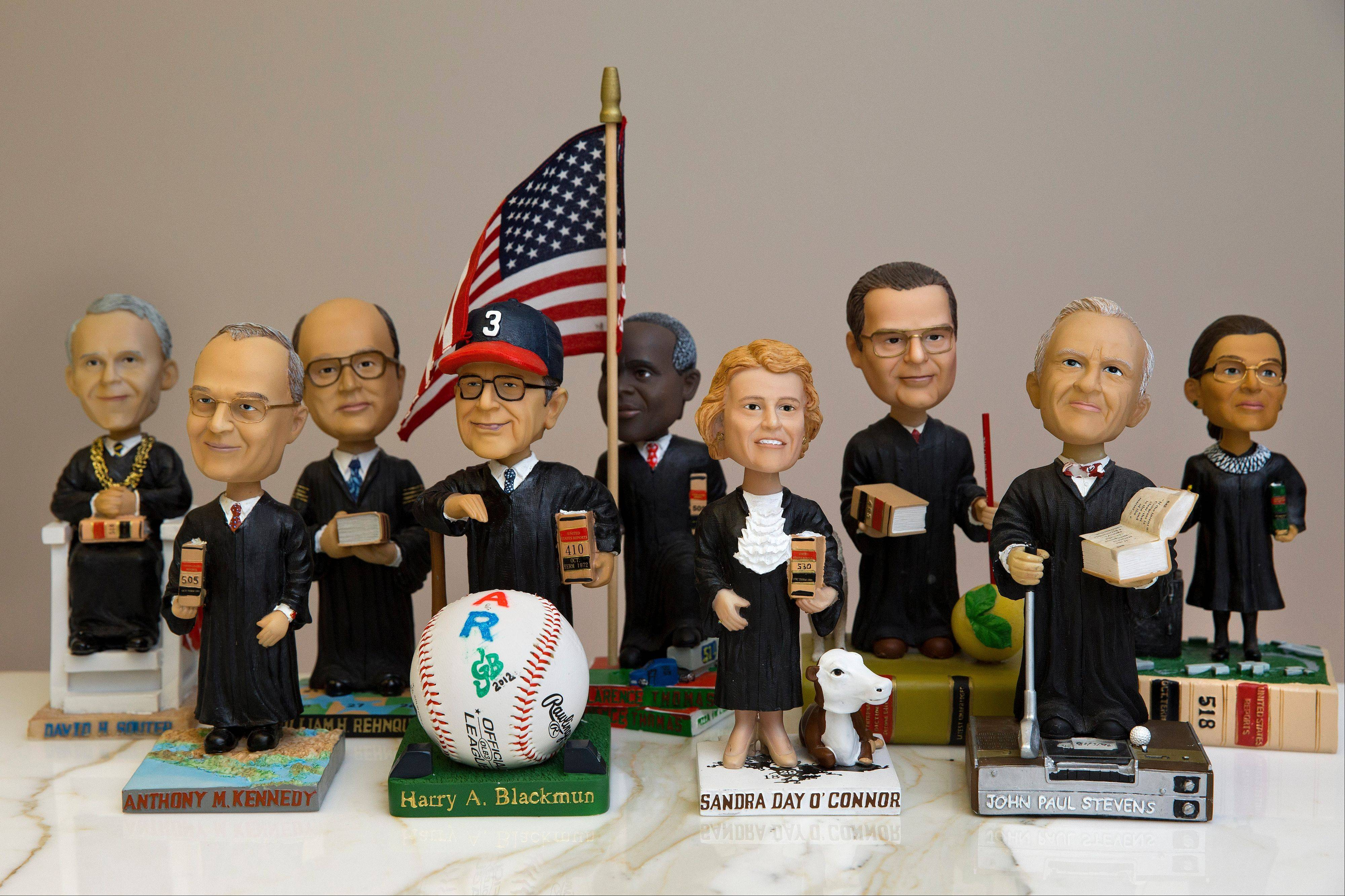 These limited edition bobbleheads of U.S. Supreme Court justices are the work of law professor Ross Davies, who has been creating them for the past ten years. When finished, they arrive unannounced on the real justices' desks, and fans will go to some lengths to get one.
