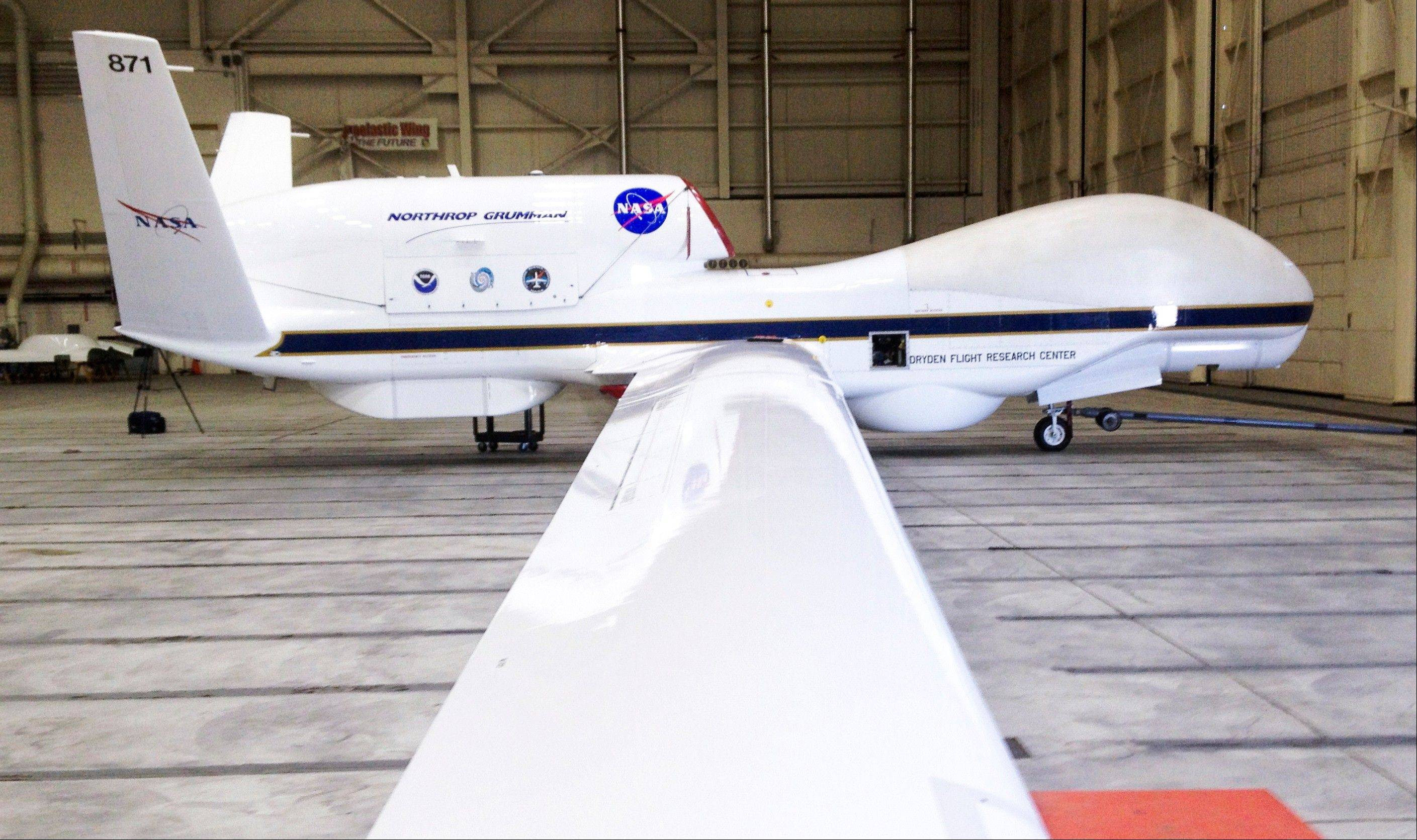 The Reaper drone, now known as a Global Hawk, is seen at Edwards Air Force Base in California. The Federal Aviation Administration announced six states on Monday that will develop test sites for drones, a critical next step for the march of the unmanned aircraft into U.S. skies.