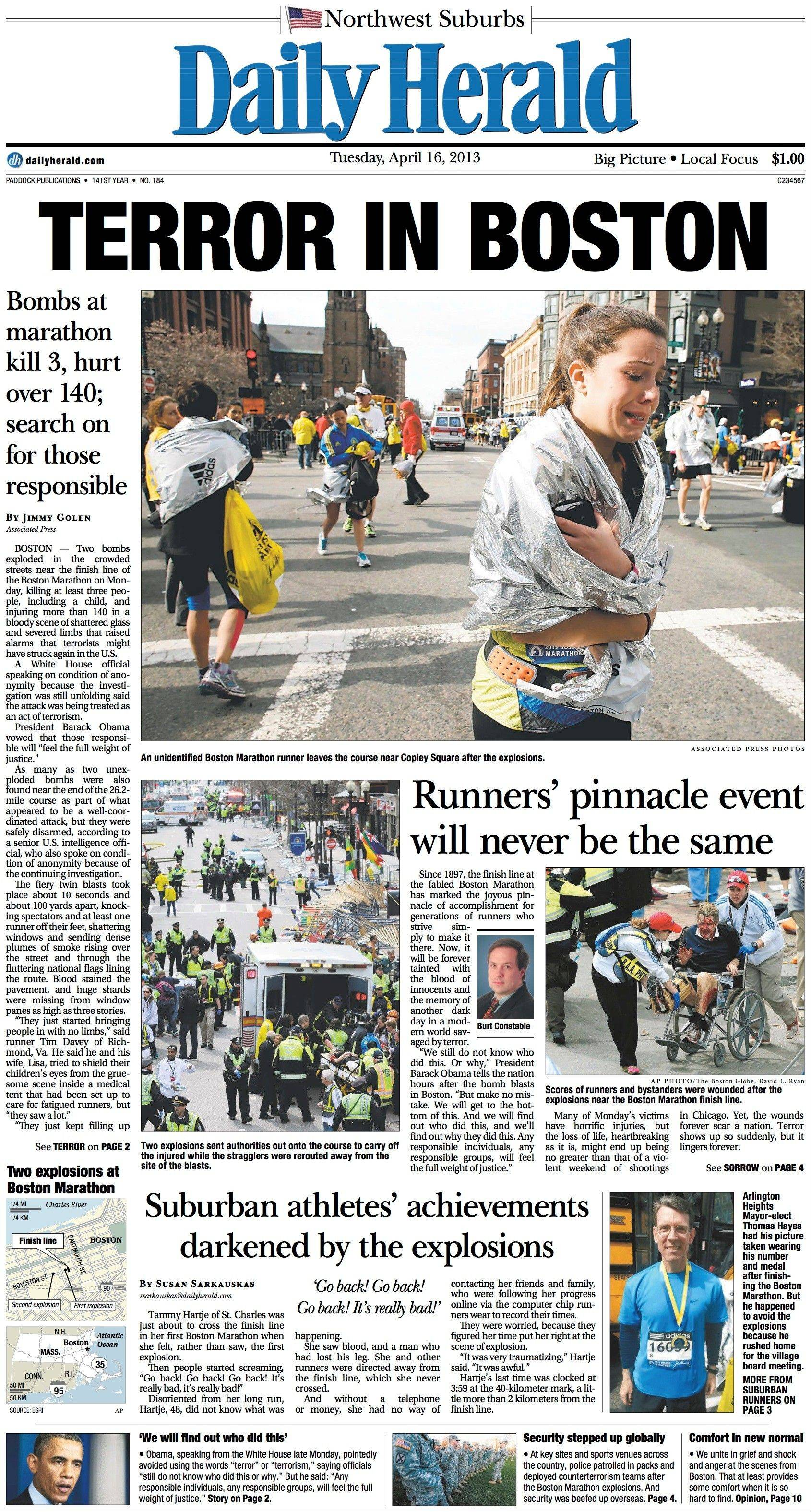 April 16: Bombs at the Boston Marathon shocked the world. Five were killed, several others were maimed, and the manhunt for the suspects began.