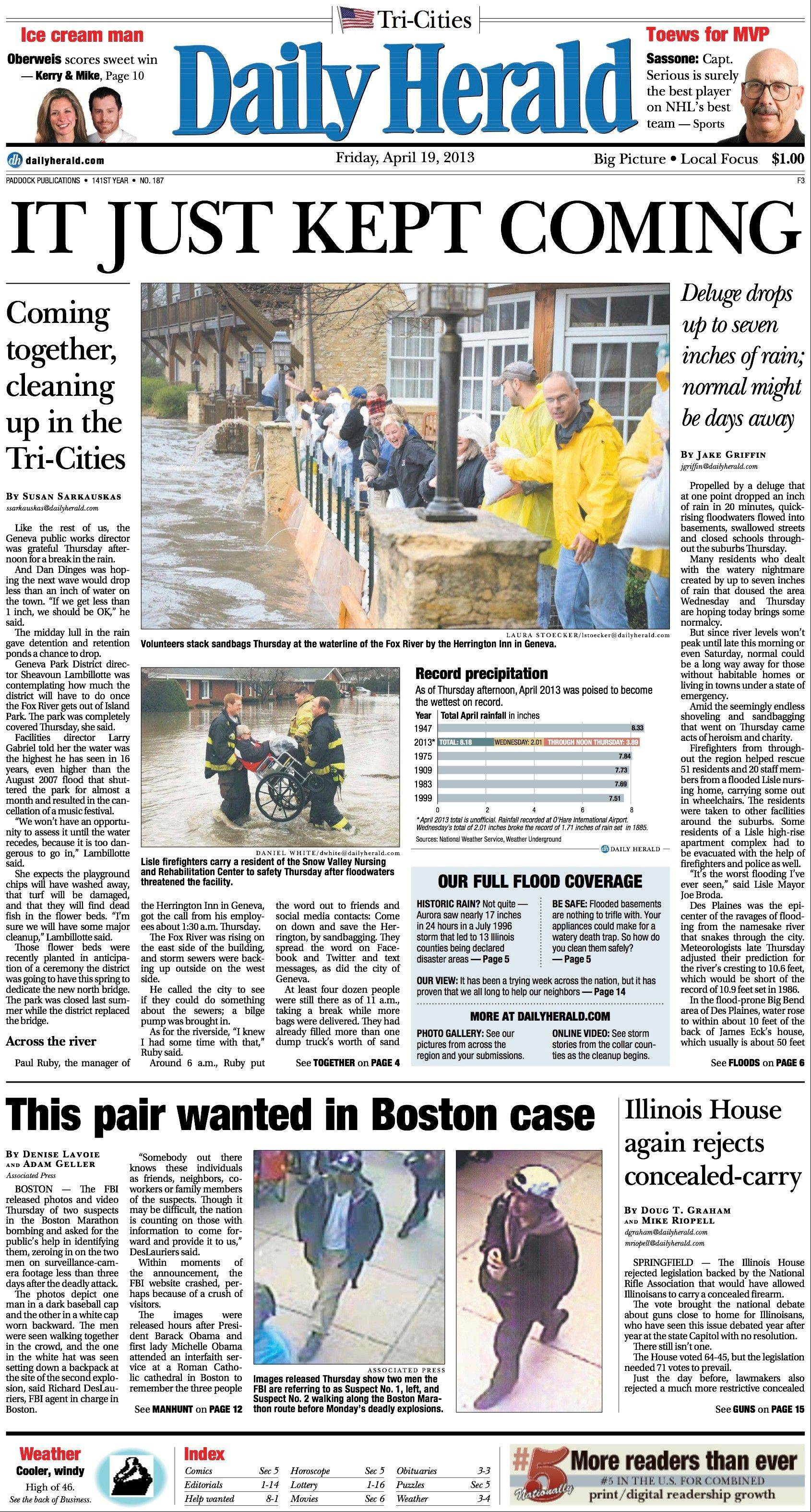 April 19: Tri-Cities residents faced the rising Fox River after spring April rains.