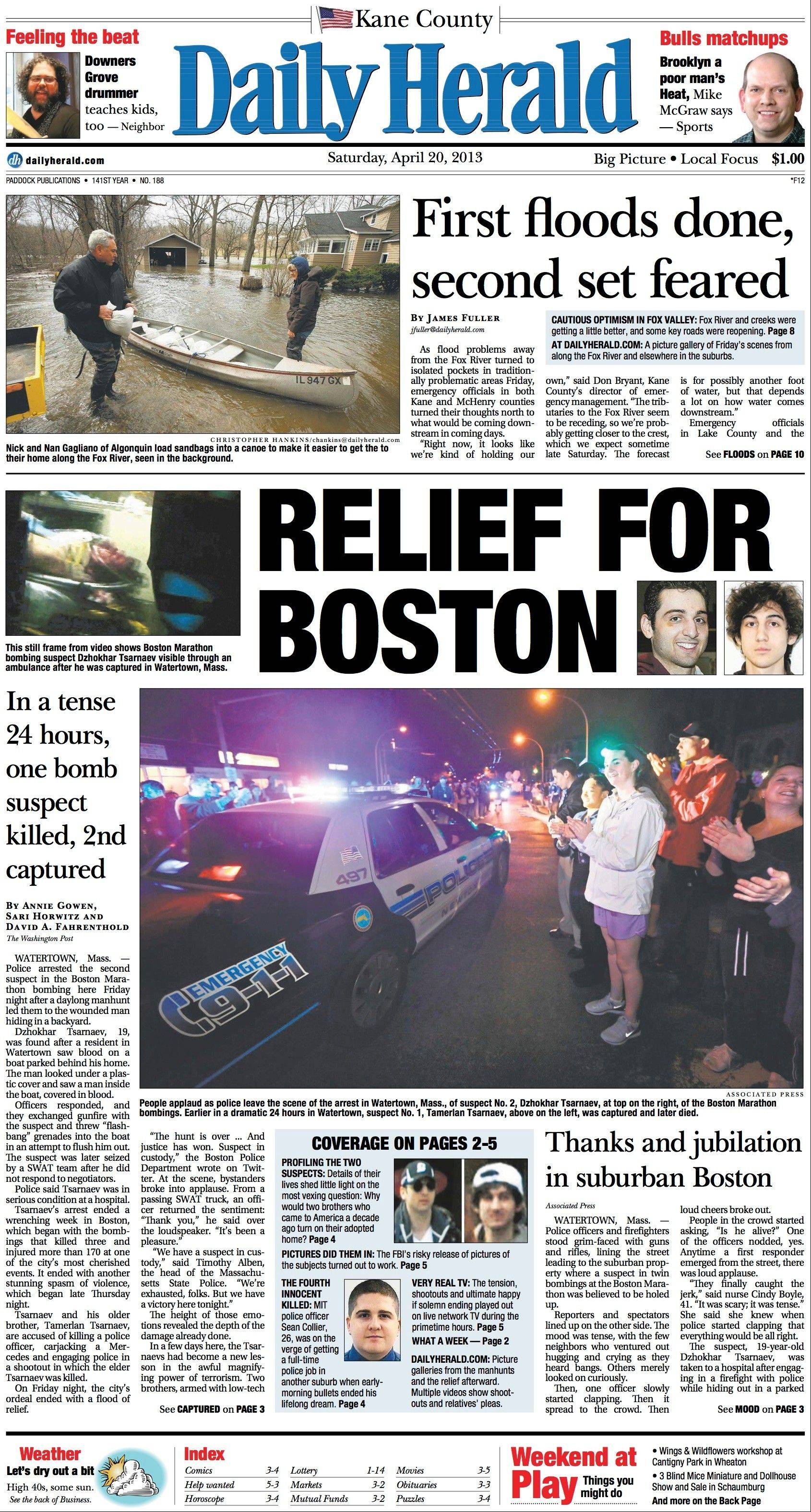 April 20: The rains in the suburbs ended and residents began dealing with the aftermath, while Boston felt some relief with the manhunt of the Boston Marathon suspects ending.