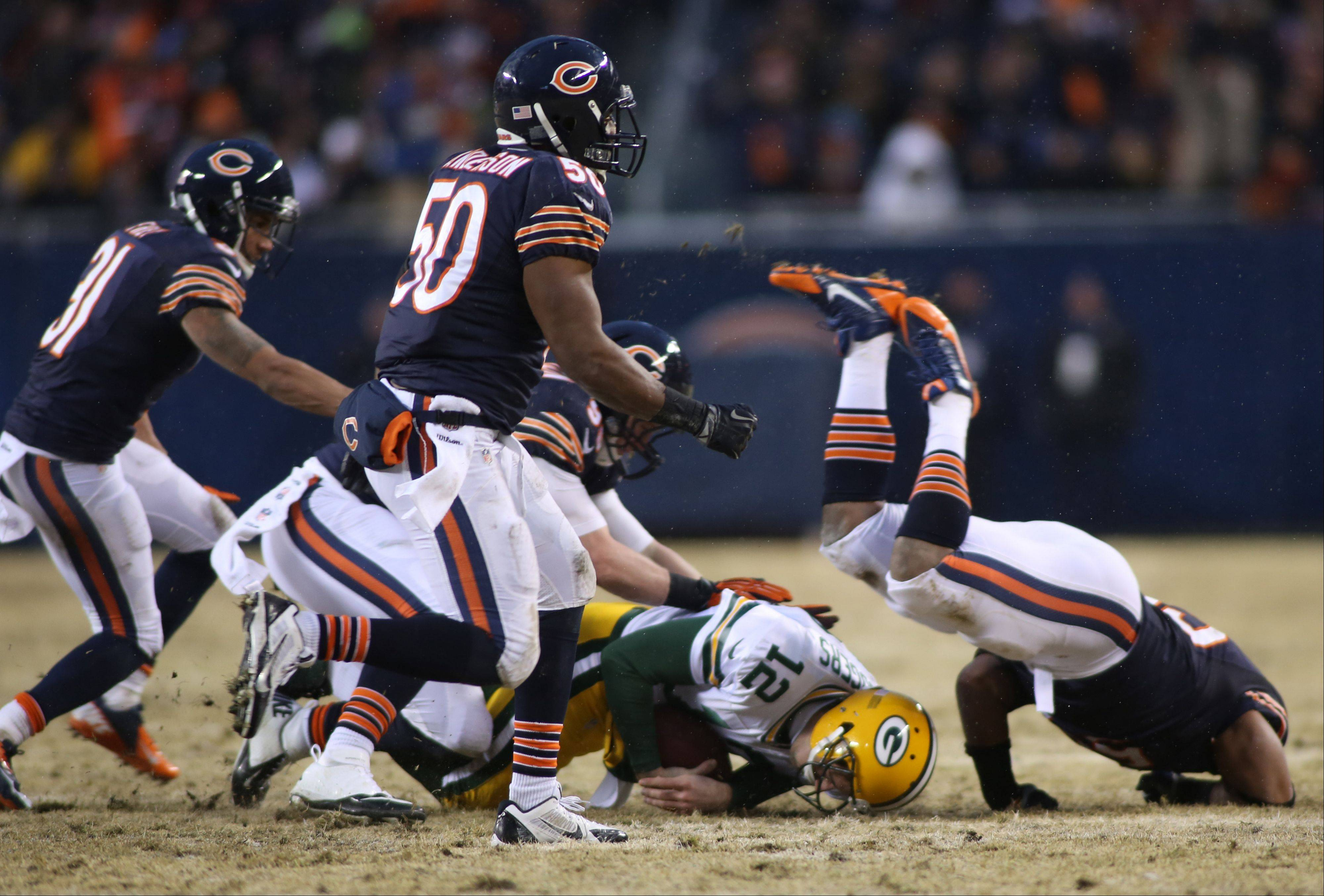 The Bears' defense got the job done against Packers quarterback Aaron Rodgers on this play Sunday at Soldier Field.