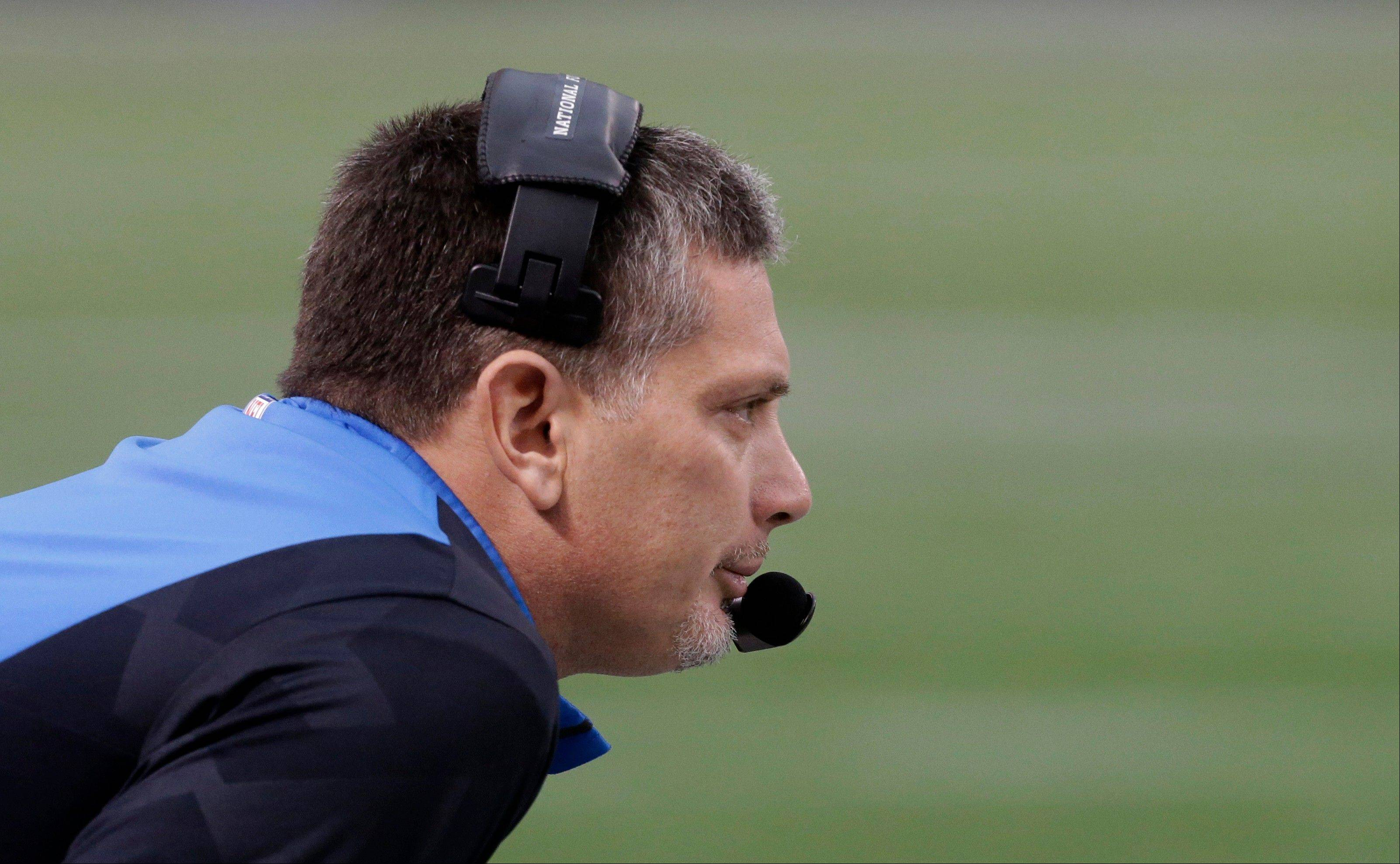 Detroit Lions head coach Jim Schwartz looks on from the sideline Sunday during the first half against the Minnesota Vikings. The Lions fired Schwartz Monday.