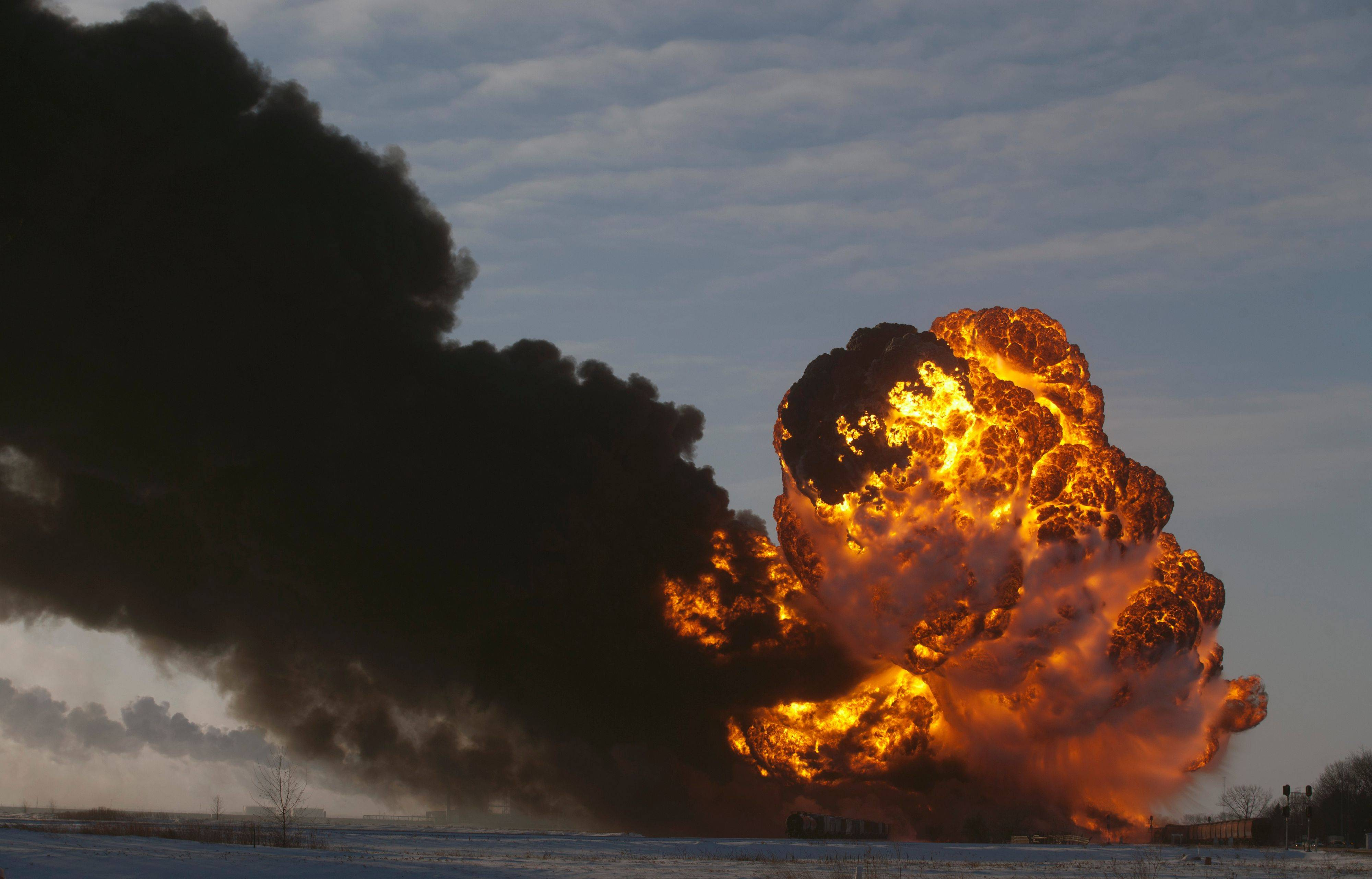 A fireball goes up at the site of an oil train derailment Monday in Casselton, N.D. The train carrying crude oil derailed near Casselton Monday afternoon. Several explosions were reported as some cars on the mile-long train caught fire.