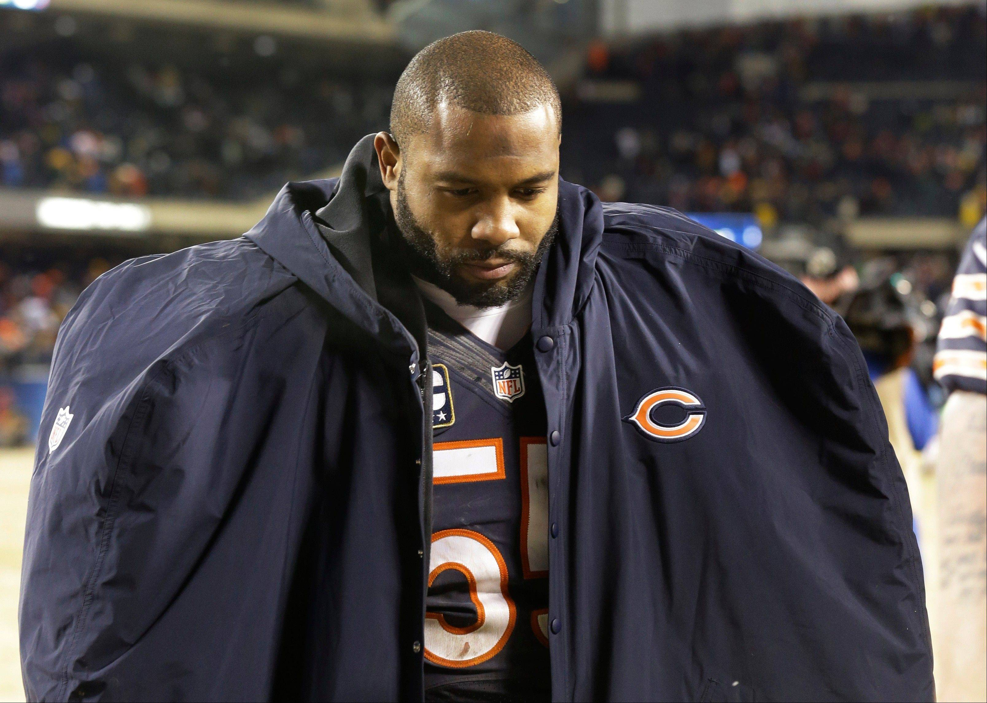 Bears linebacker Lance Briggs, who missed seven games to injury this season, will be back next season but the Bears have 28 free agents without contracts.