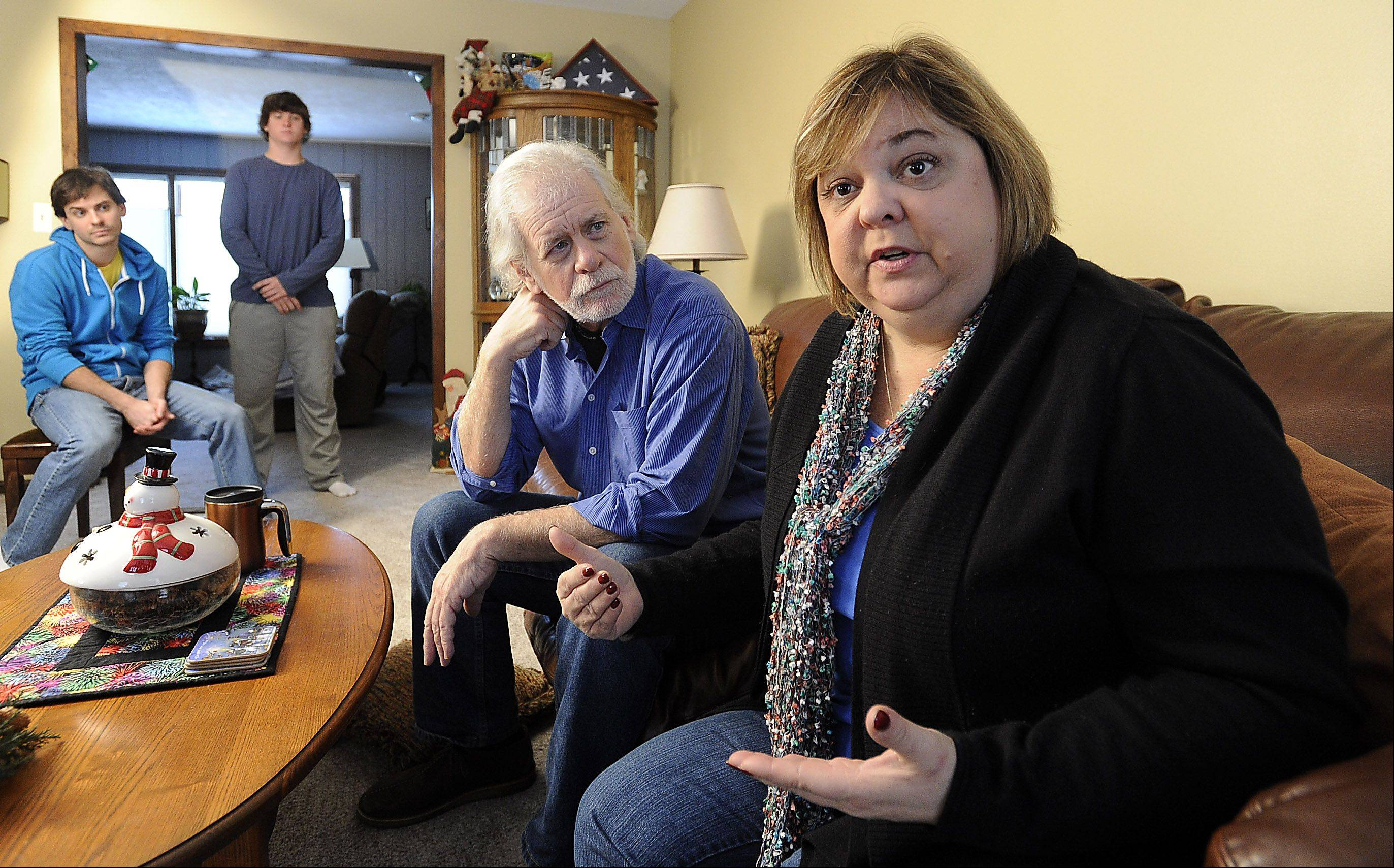 Joyce Moens of Arlington Heights says being without health insurance forced her to let her health slide. On Wednesday, she and her sons, Scott and Eric, and husband Keith will have coverage under the new federal health care law.