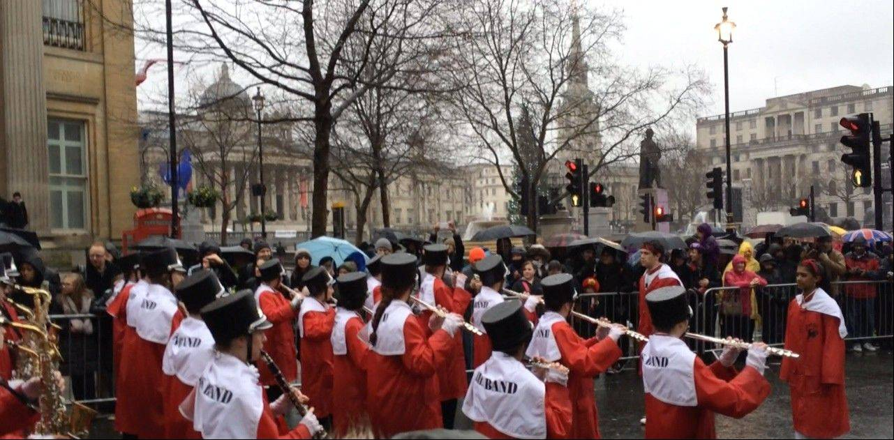 The Barrington High School Bronco Marching Band performs in the 2014 New Year's Day Parade in London on Wednesday.