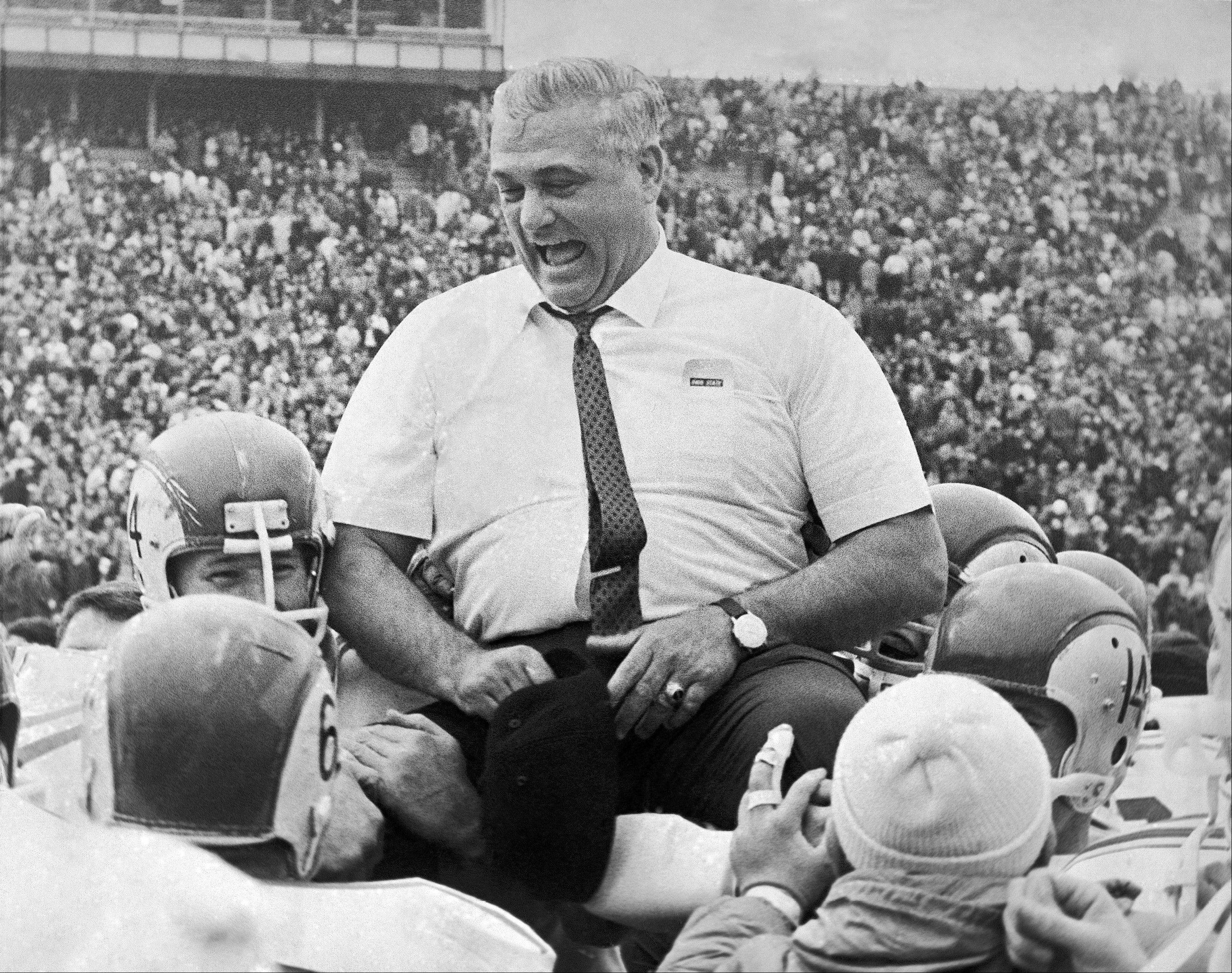 Legendary Ohio State coach Woody Hayes, whose record was 205-61-10 with the Buckeyes, lost his job after punching an opposing player in the 1978 Gator Bowl.