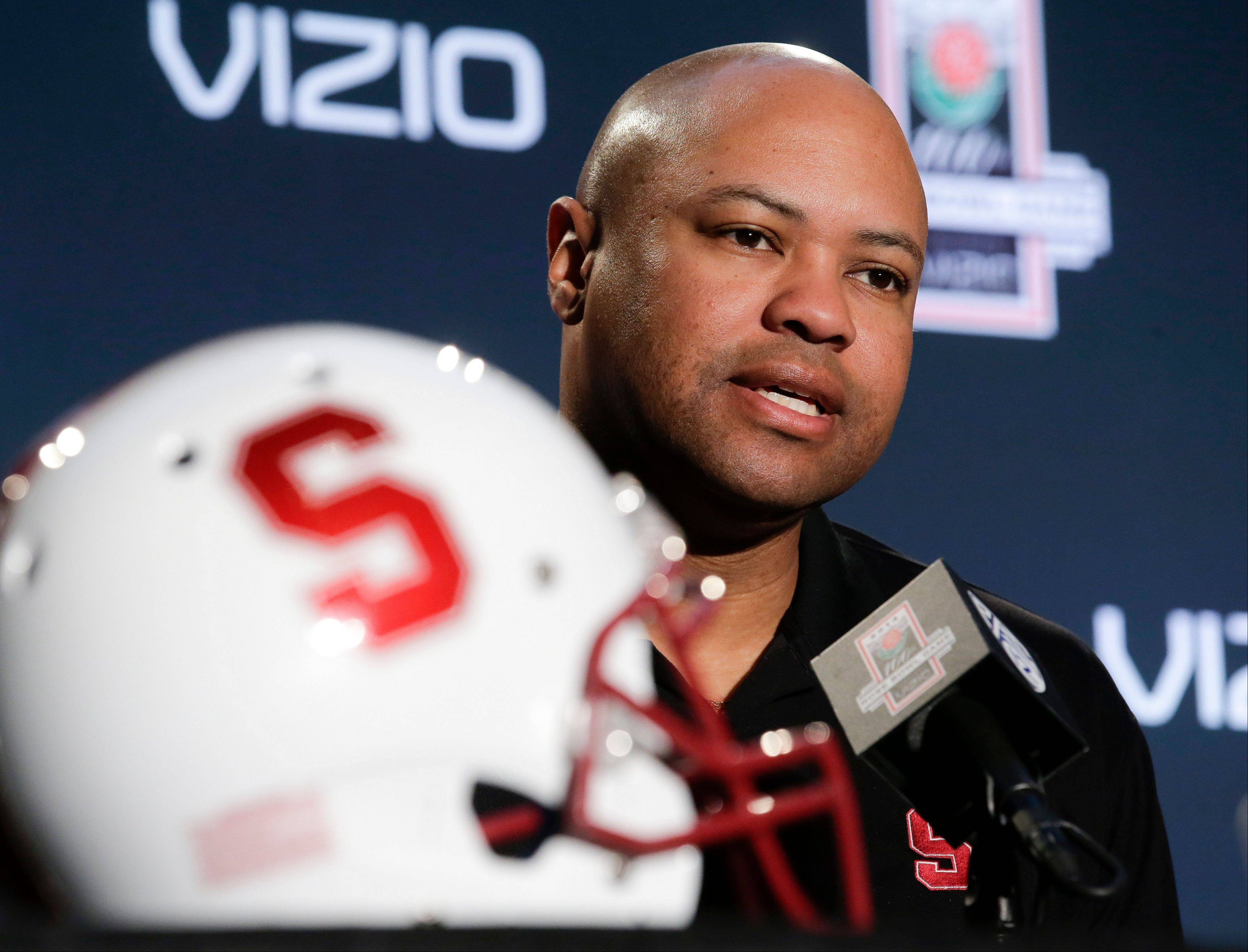 Stanford head coach David Shaw takes questions during a news conference Monday in Los Angeles. Last year, the Cardinal ended a 40-year Rose Bowl victory drought.