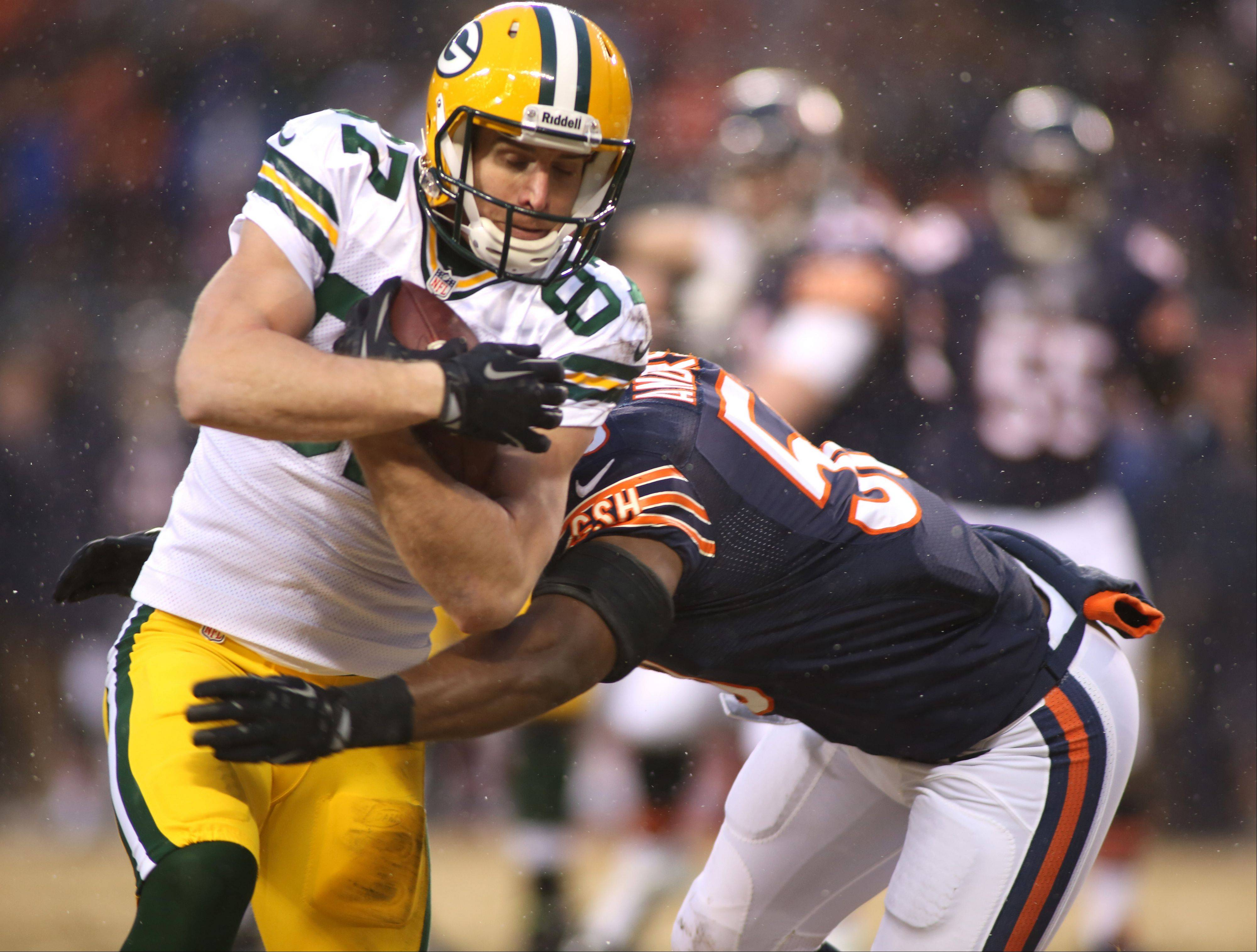 Green Bay Packers wide receiver Jordy Nelson moves up the field against the Bears' James Anderson on Sunday. The Bears defense couldn't stop the Packers when the game was on the line.