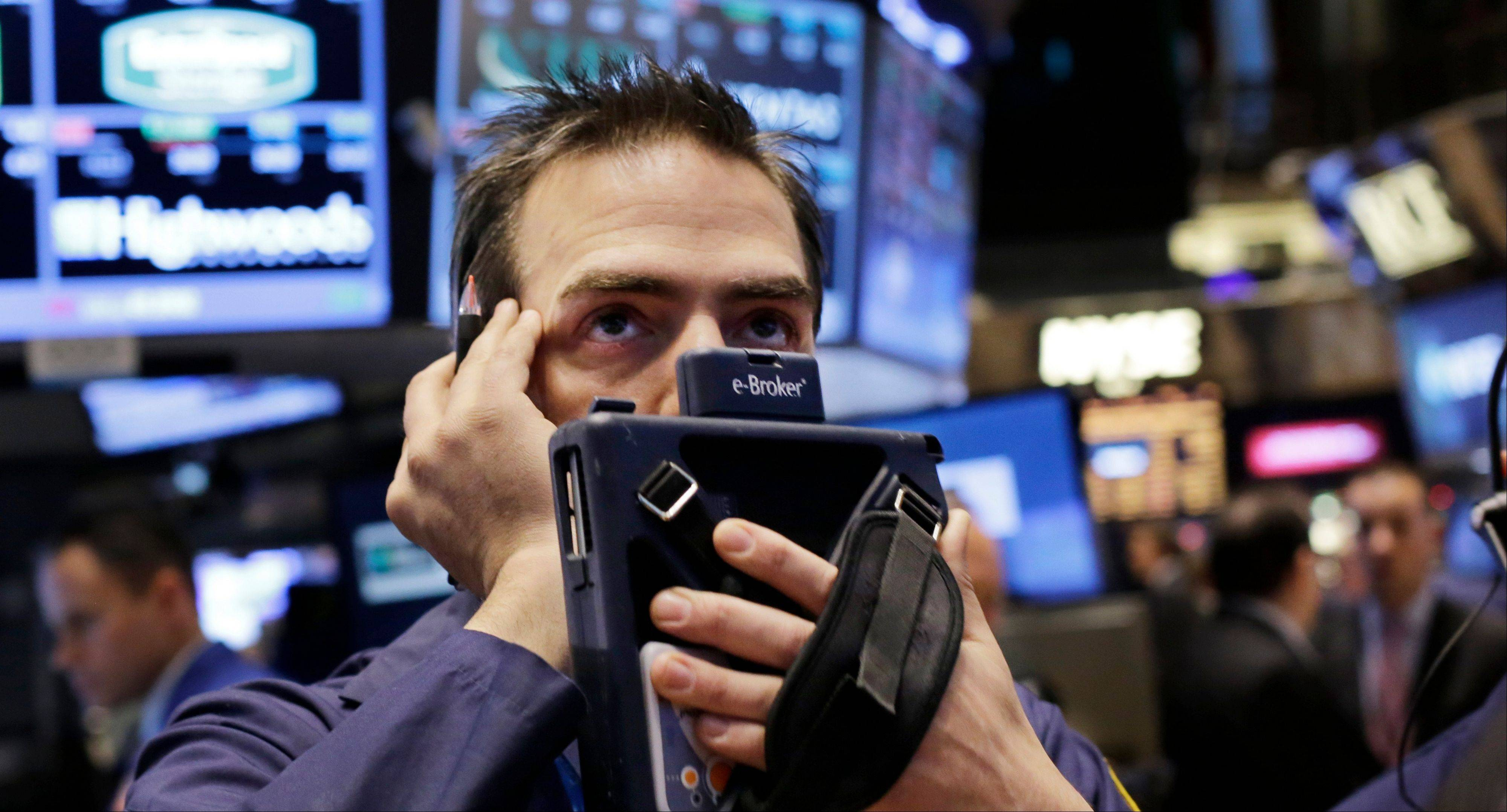 Stocks declined Thursday, with the Standard & Poor�s 500 Index starting the year lower for the first time since 2008, after benchmark indexes posted the biggest annual rallies in more than 15 years.