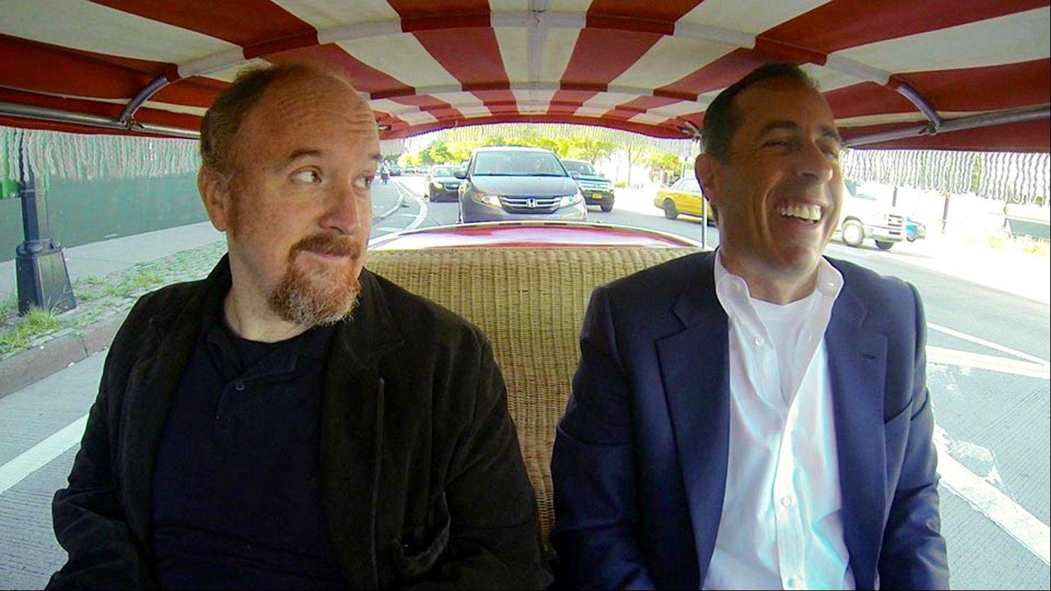 "Comedians Louis C.K., left, and Jerry Seinfeld share a laugh during Seinfeld's new web series talk show ""Comedians in Cars Getting Coffee."" The series launched on the Crackle digital network in 2012, and its third season cranks up Thursday, Jan. 2, with Seinfeld joining Louis C.K. for a cup of joe after a zany ride on a clown-car-scale 1959 Fiat Jolly."