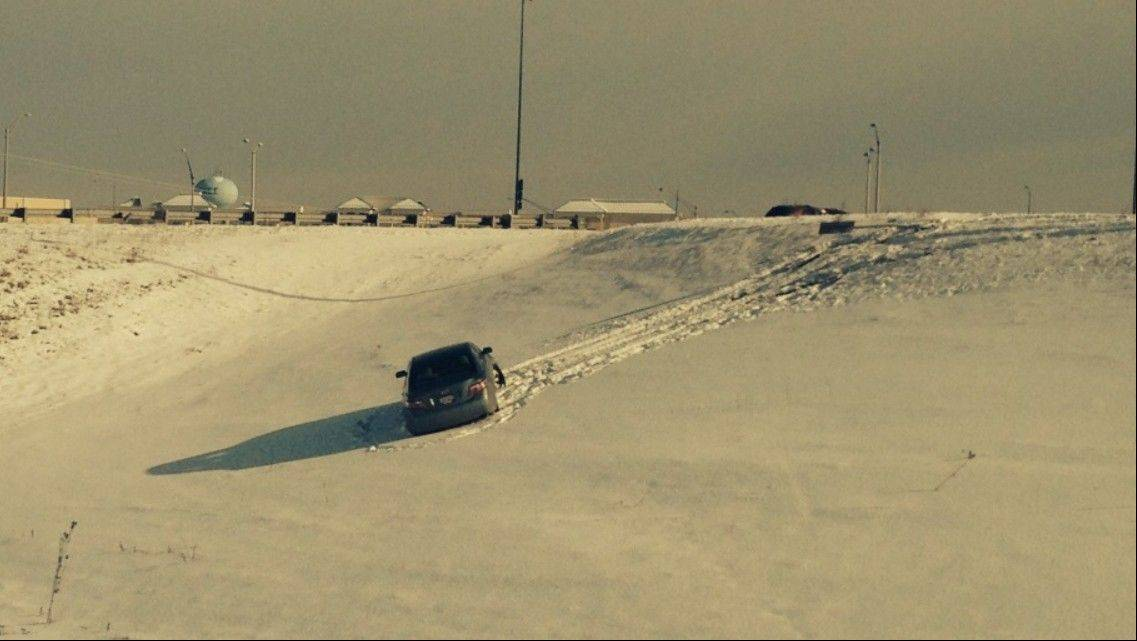 A car ended up in the ditch in Gurnee near the entrance to Tri-state Tollway.