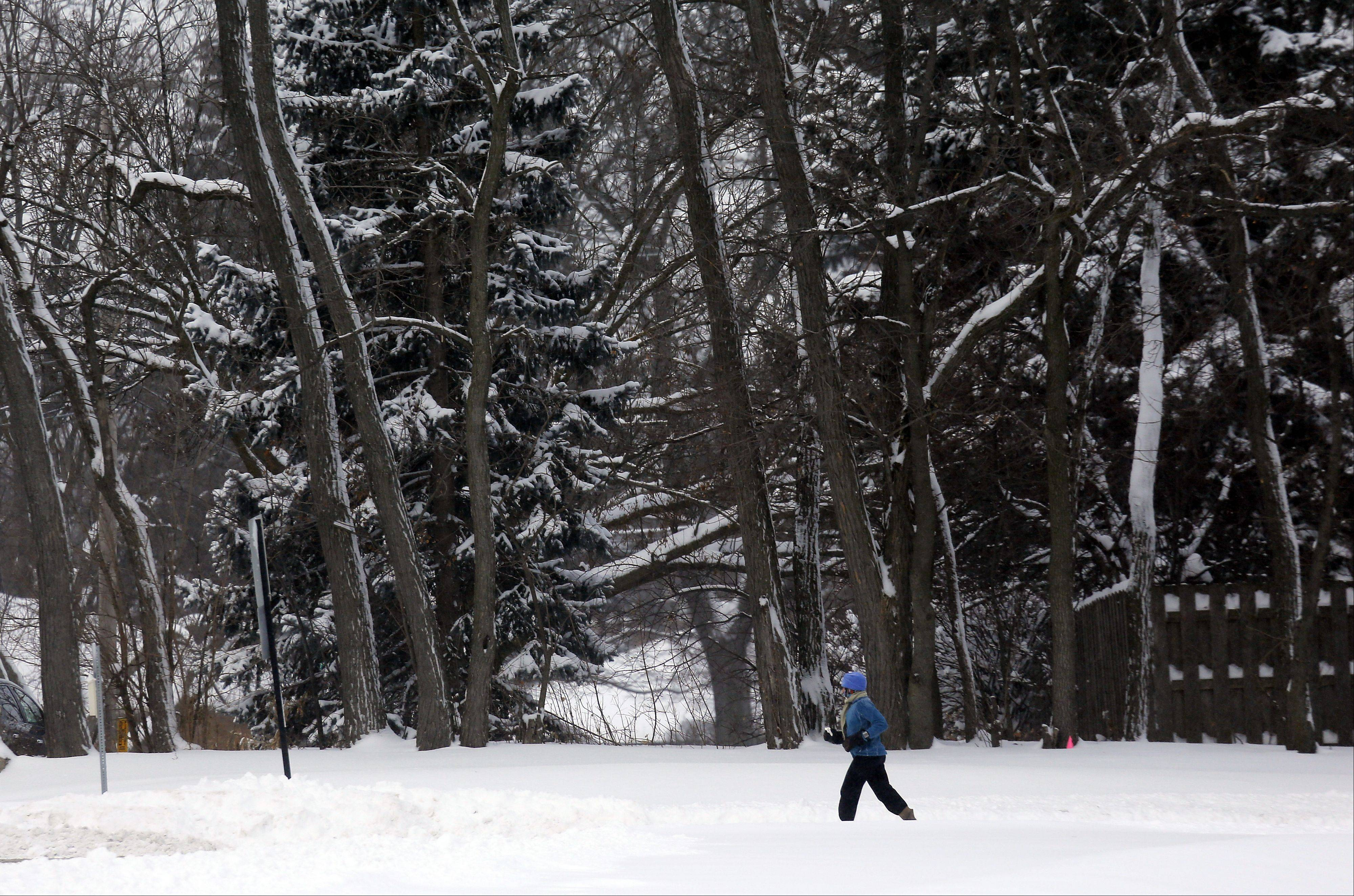 An unidentified jogger makes their way through Wing Park in Elgin Thursday morning.