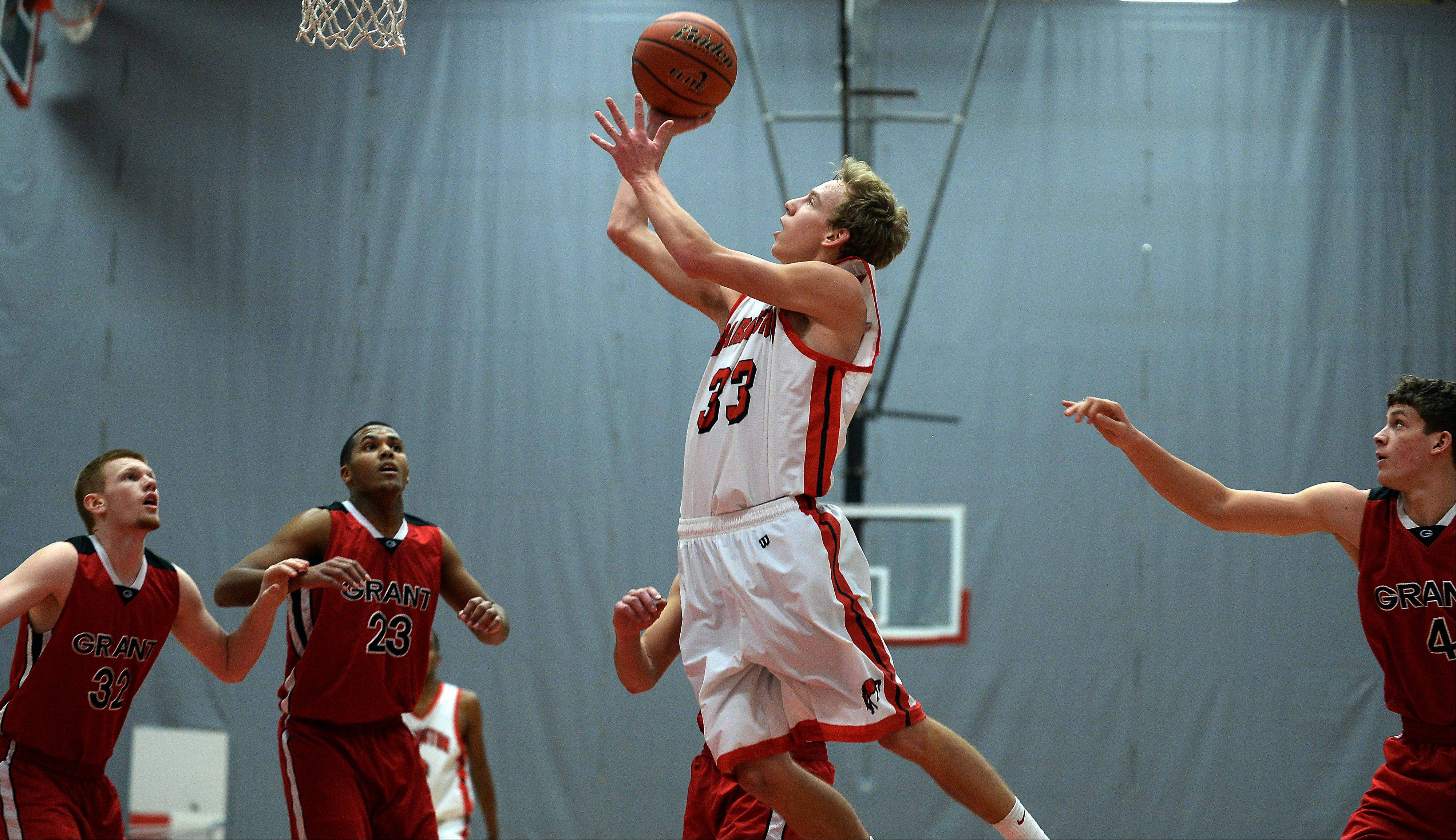 Barrington�s Scott Bennett scores.